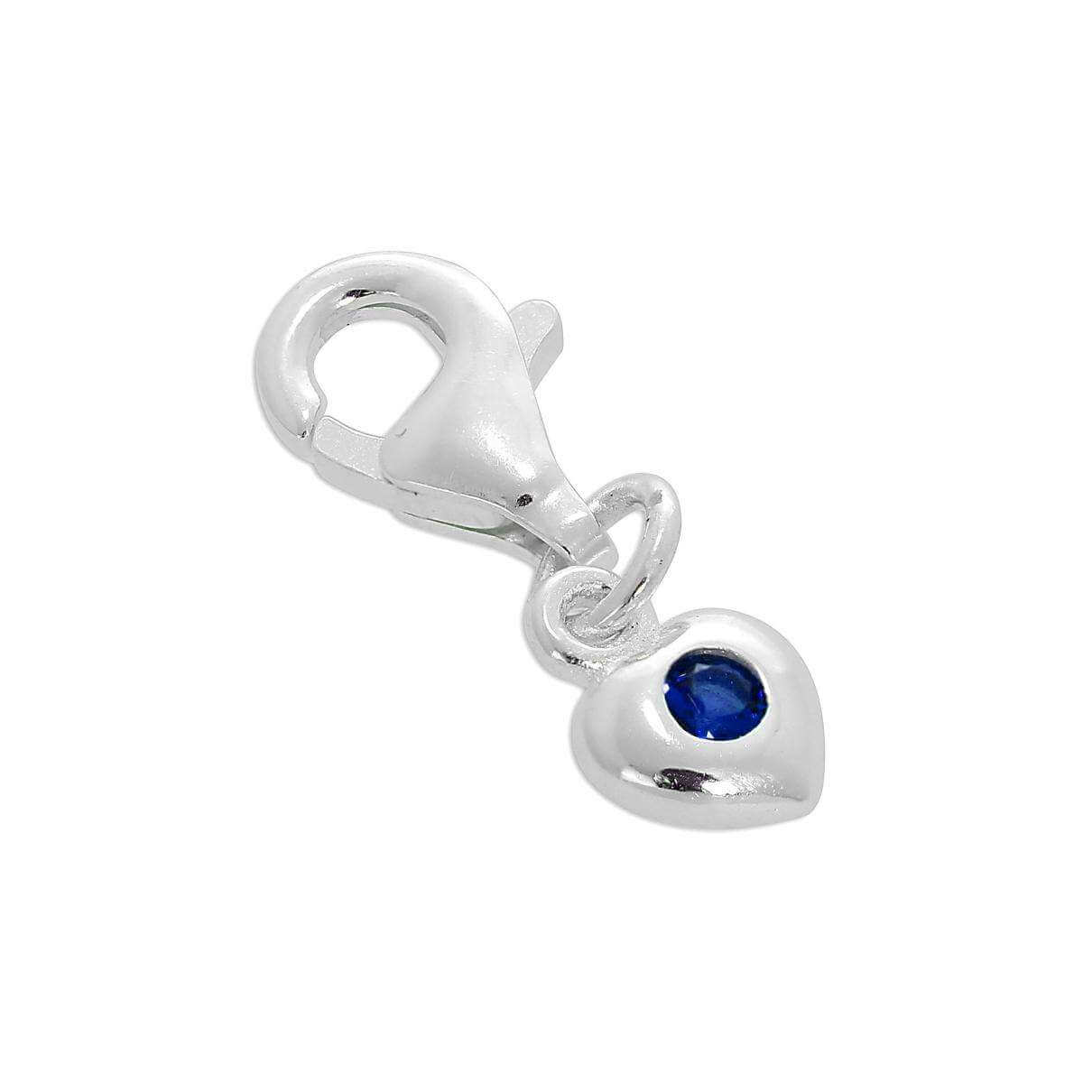 Sterling Silver & Sapphire CZ Crystal September Birthstone Heart Clip-On Charm