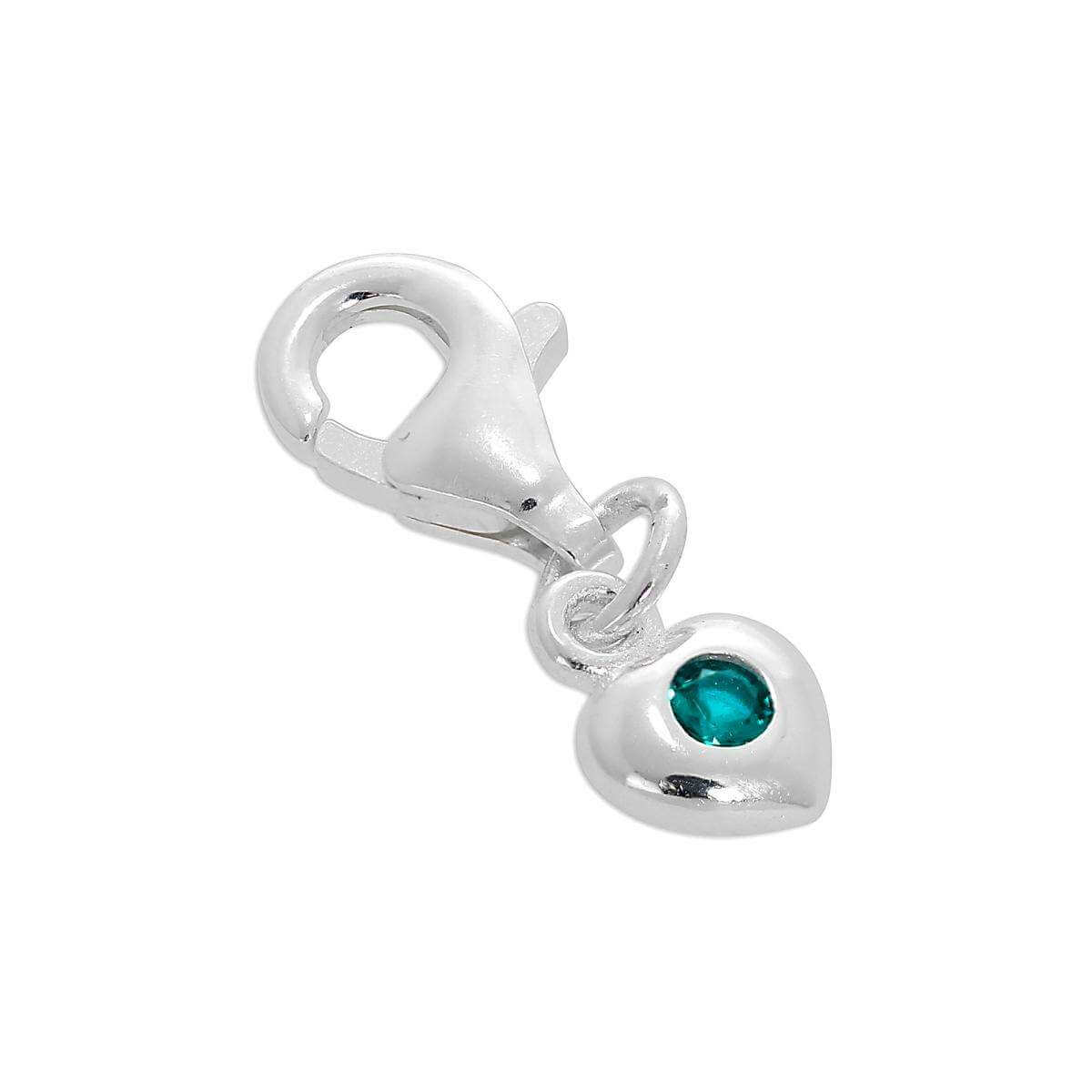 Sterling Silver & Turquoise CZ Crystal December Birthstone Heart Clip-On Charm
