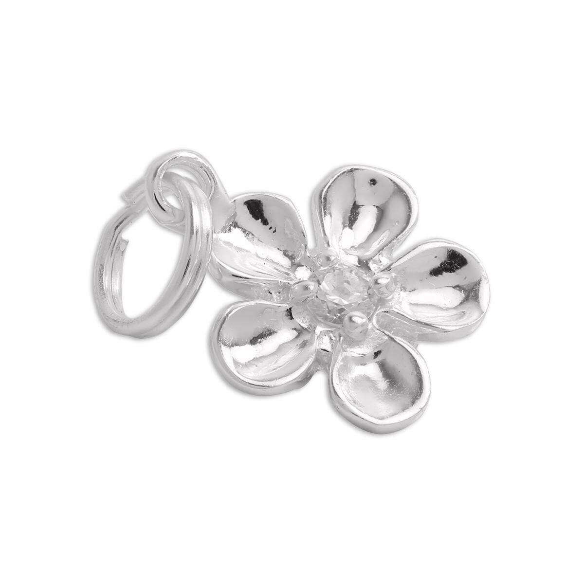 Sterling Silver Flower Charm with Clear CZ Crystal