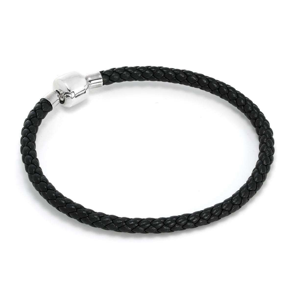 Sterling Silver & Black Leather 4.5mm Bead Charm Bracelet