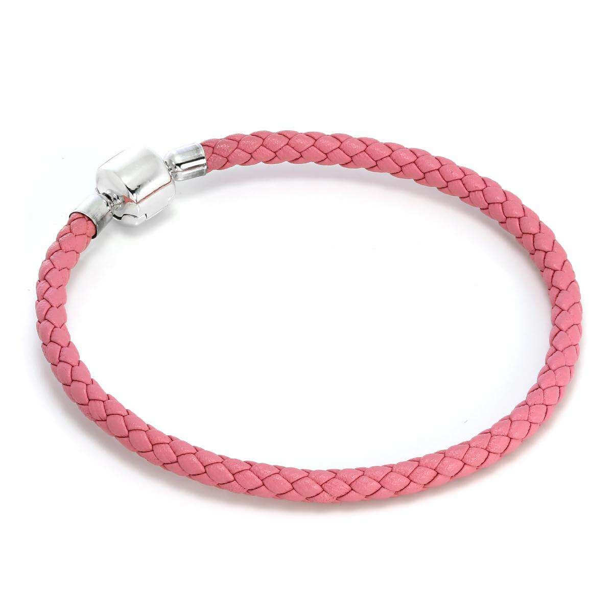 Sterling Silver & Pink Leather 4.5mm Bead Charm Bracelet
