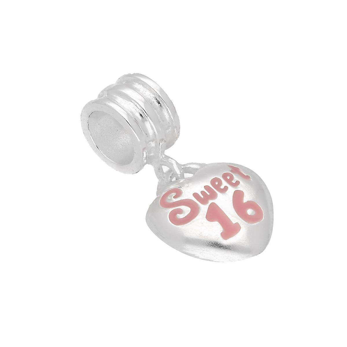 Sterling Silver Sweet 16 Hanging Heart Bead Charm