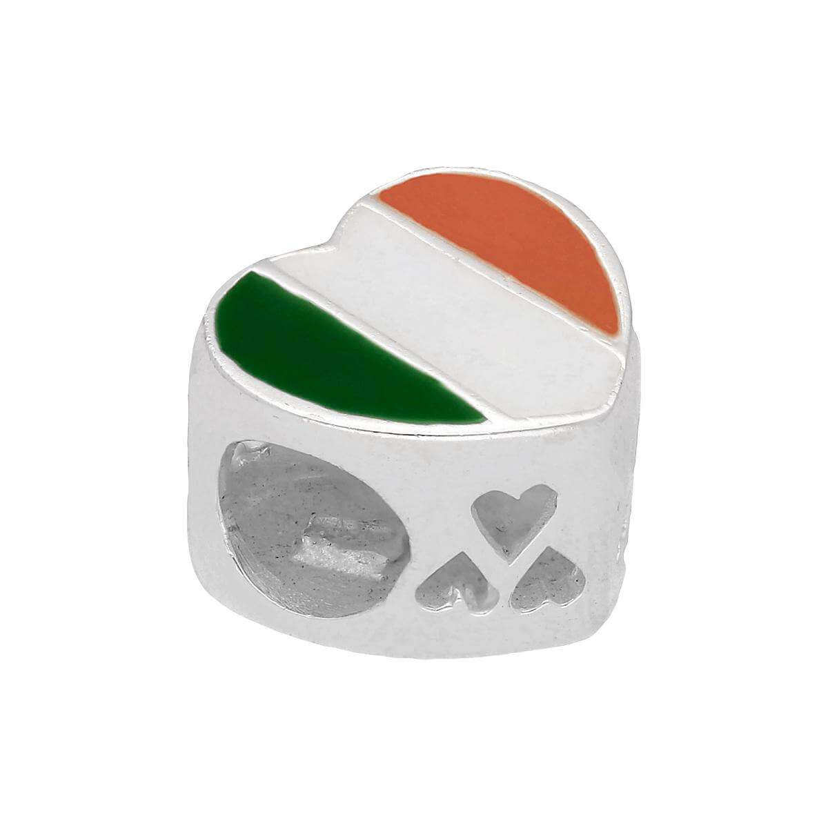 Sterling Silver Enamelled Irish Flag Heart Bead Charm