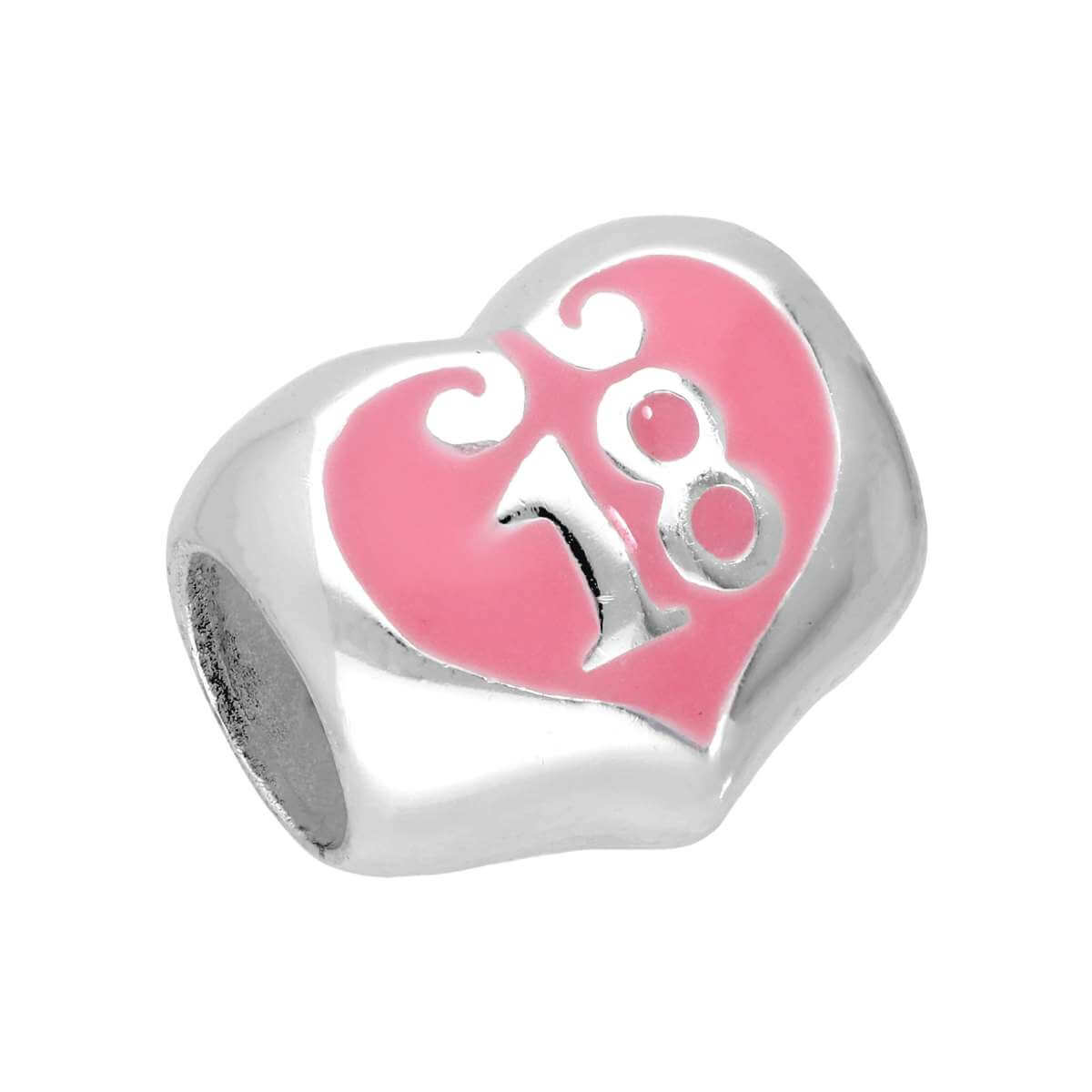 Sterling Silver Enamelled 18 Heart Bead Charm