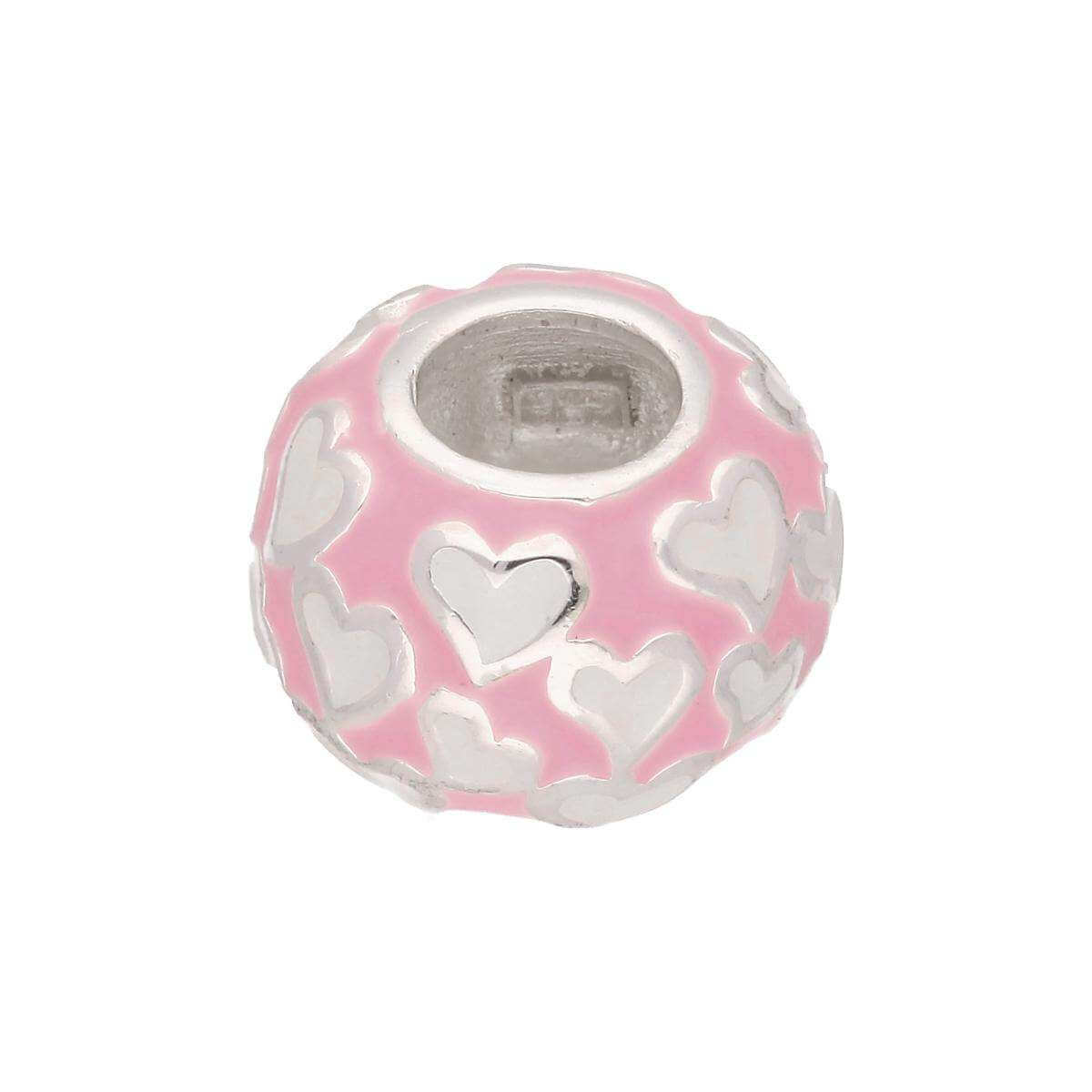 Sterling Silver Enamelled Love Hearts Bead Charm