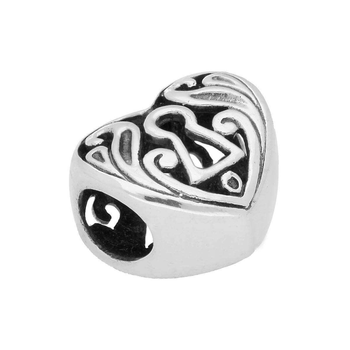 Sterling Silver Keyhole Cut Out Heart Bead Charm