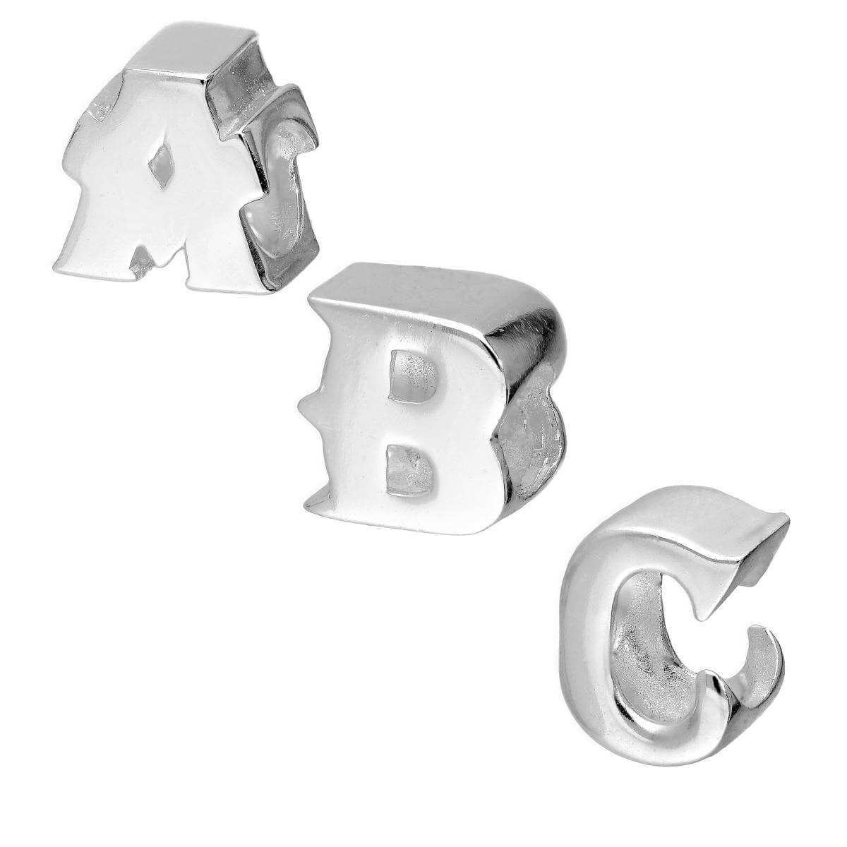 Sterling Silver Alphabet Letter Bead Charm A - Z