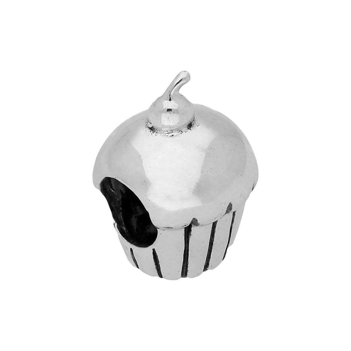 Sterling Silver Cupcake Bead Charm