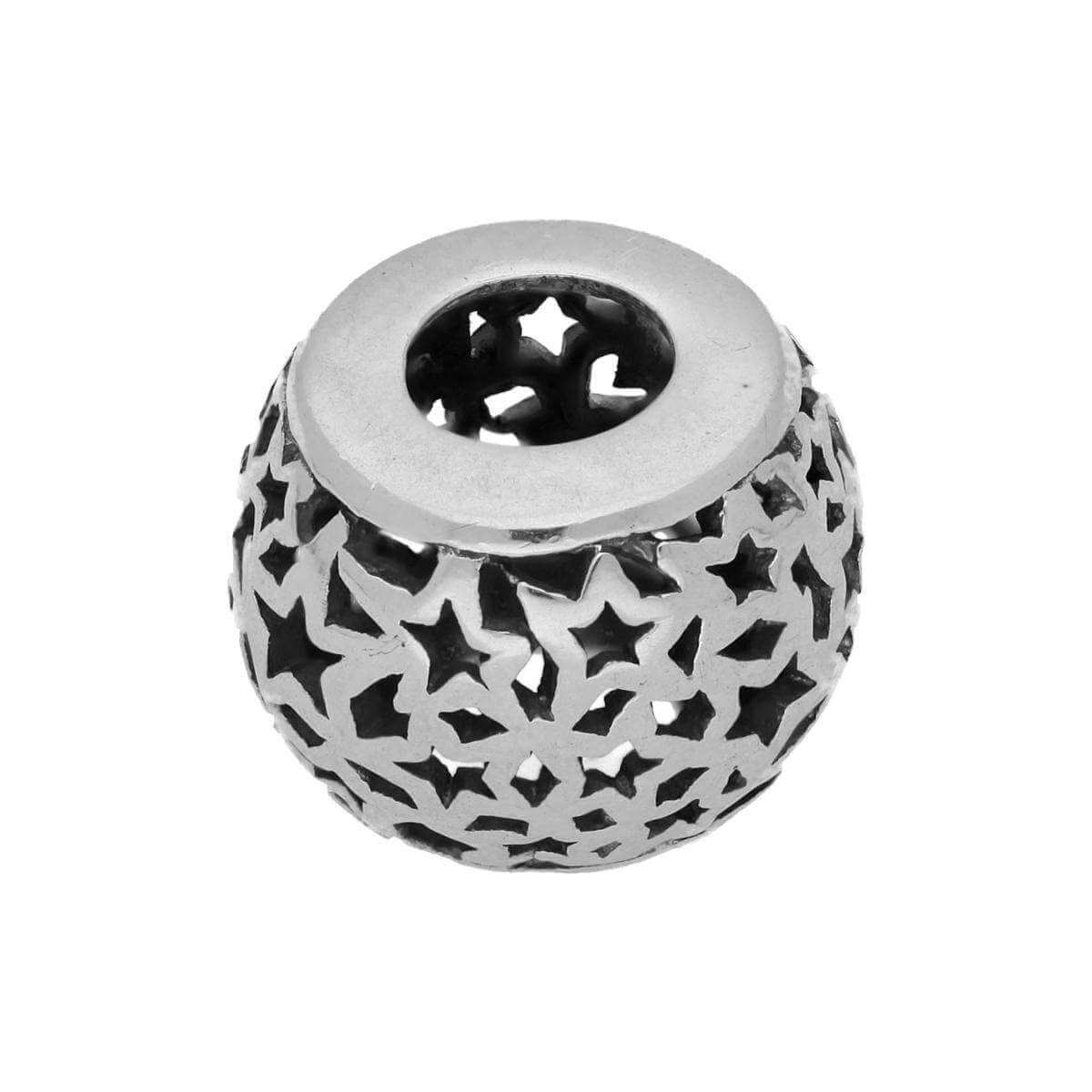 Sterling Silver Round Bead Charm with Cut Out Stars