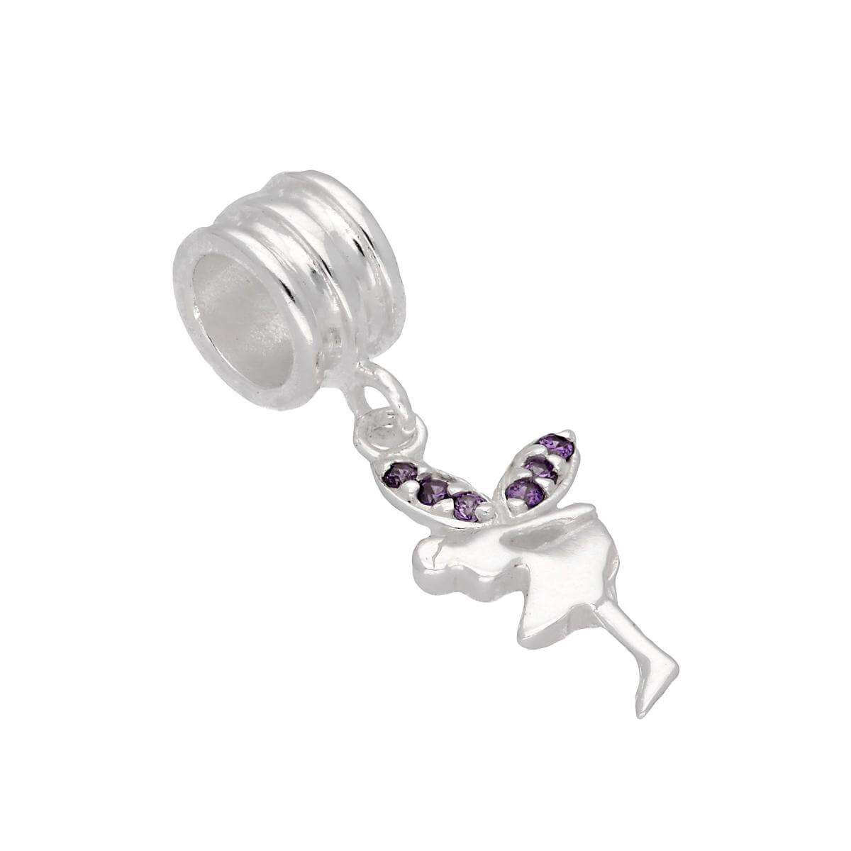 Sterling Silver & Purple CZ Crystal Hanging Fairy Bead Charm