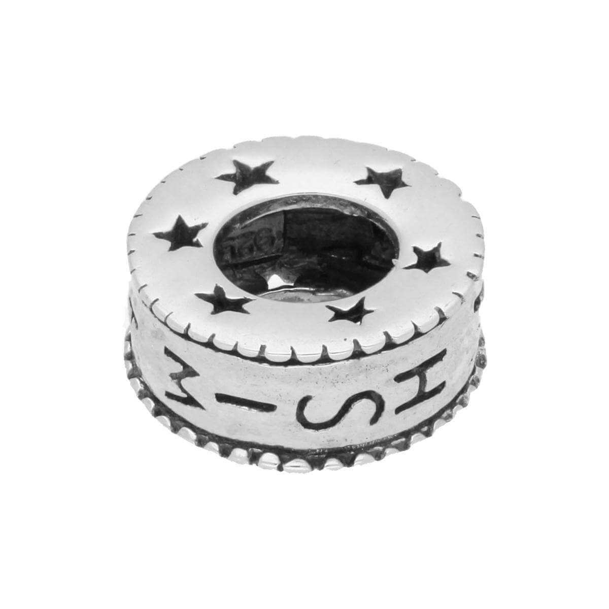 Sterling Silver Round Wish Wheel Charm with Stars