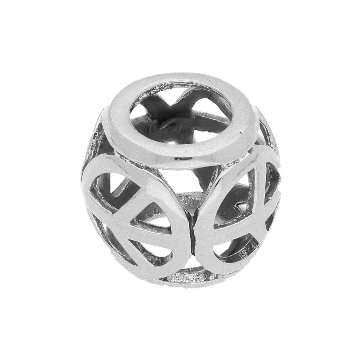 Sterling Silver Cut Out Peace Sign Bead Charm