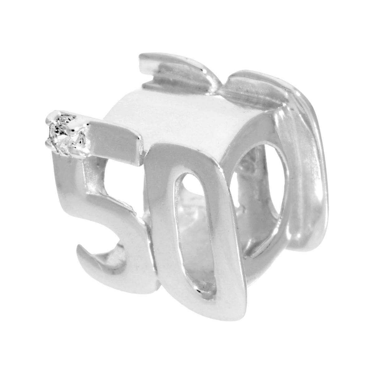Sterling Silver & CZ Crystal Birthday Bead Charm 50th