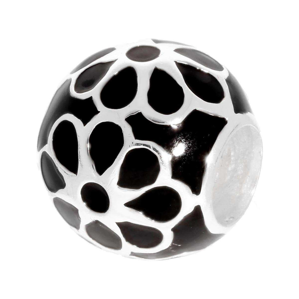 Sterling Silver Black Enamelled Flower Bead Charm