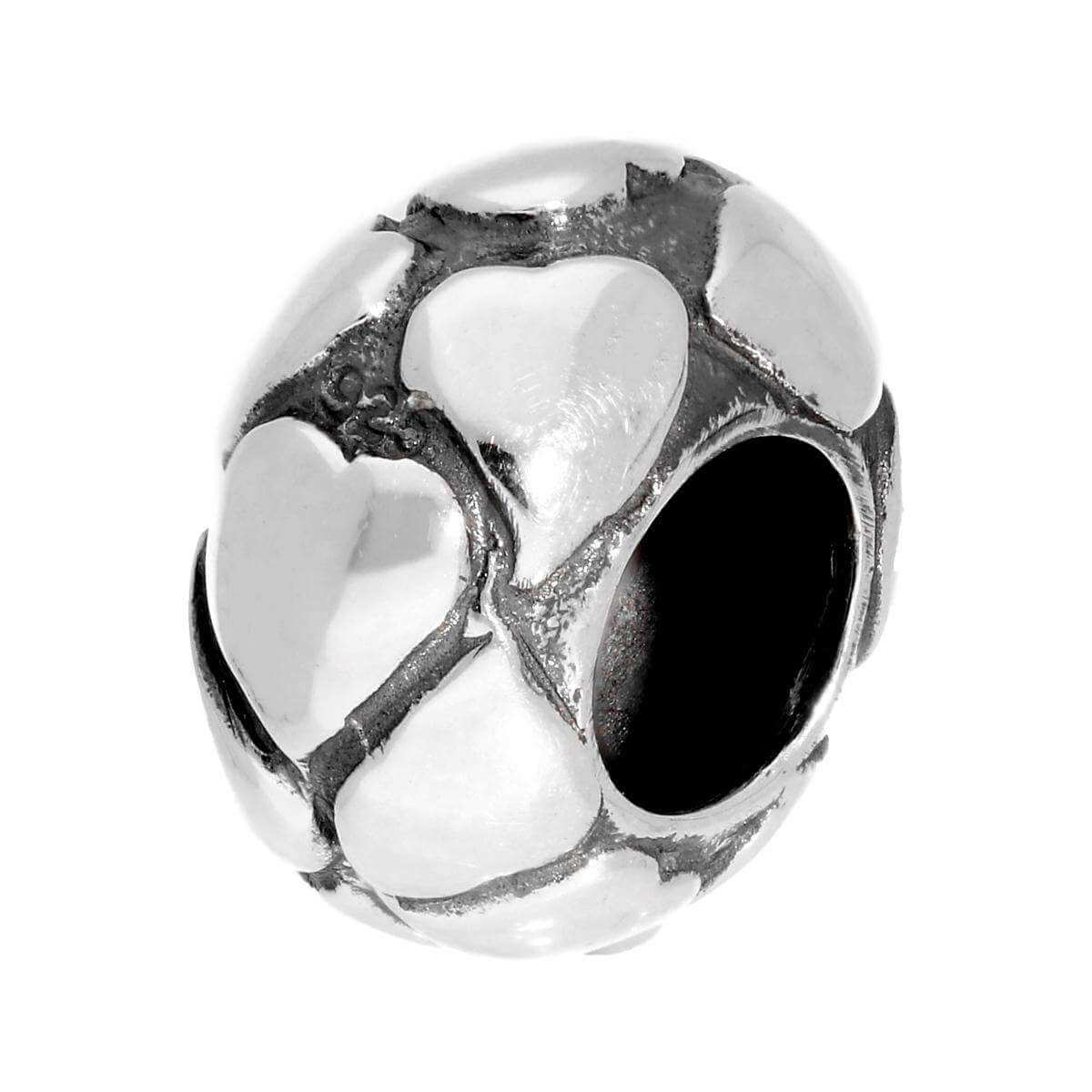 Sterling Silver Heart Patterned Bead Charm