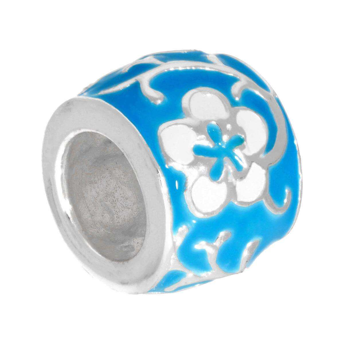 Sterling Silver Blue & White Enamelled Flower Bead Charm