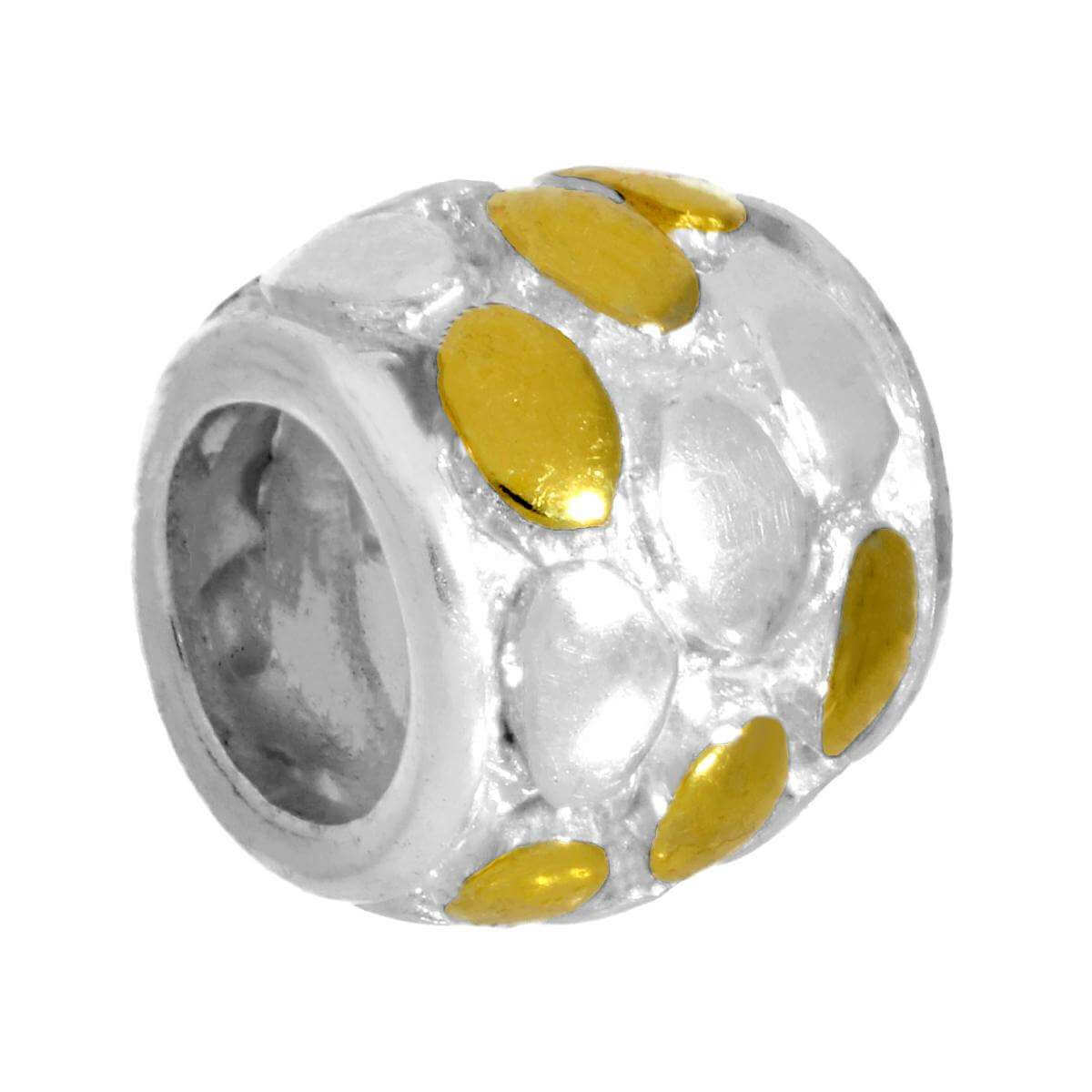 Sterling Silver White & Yellow Oval Patterned Bead Charm