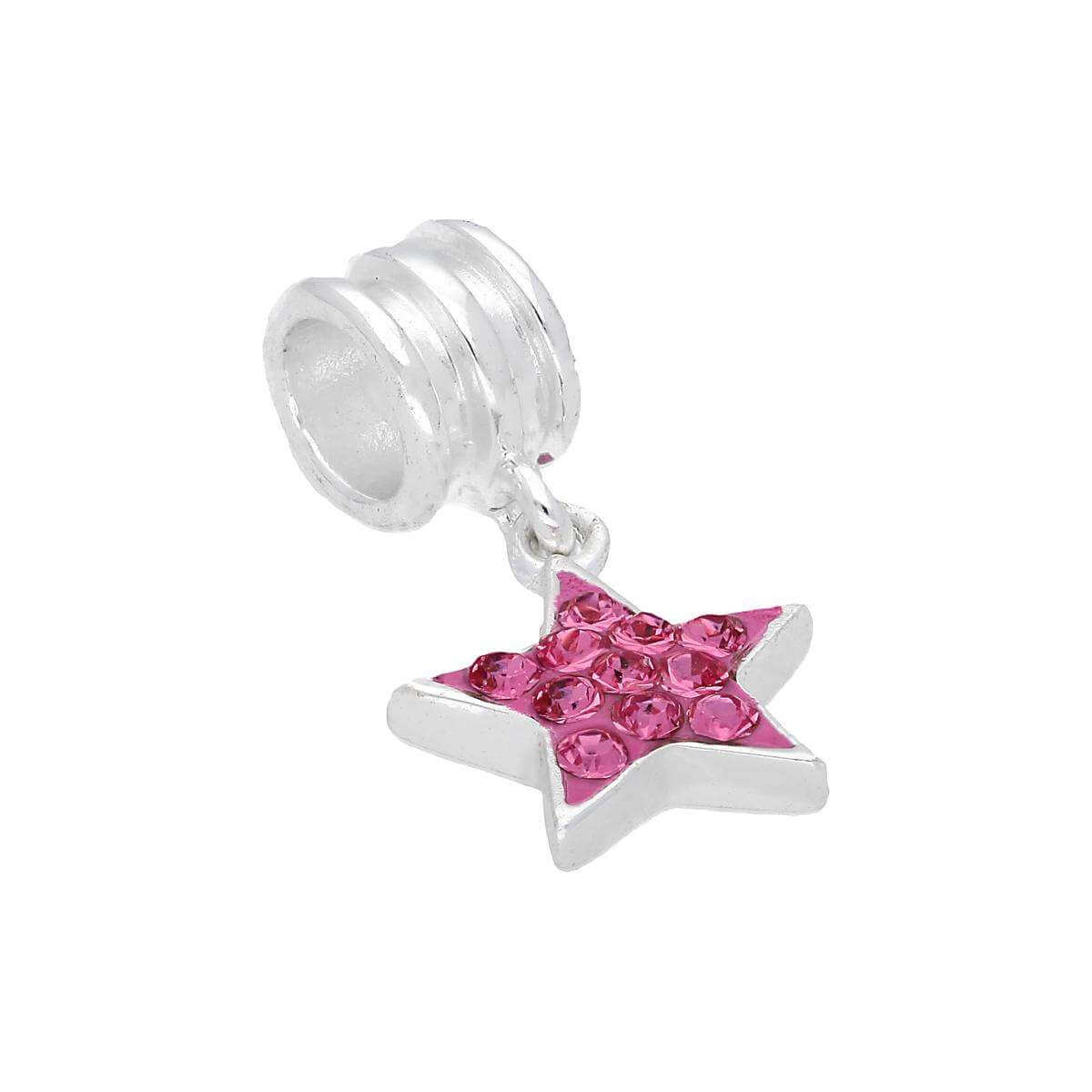 Sterling Silver & Pink CZ Crystal Hanging Star Bead Charm