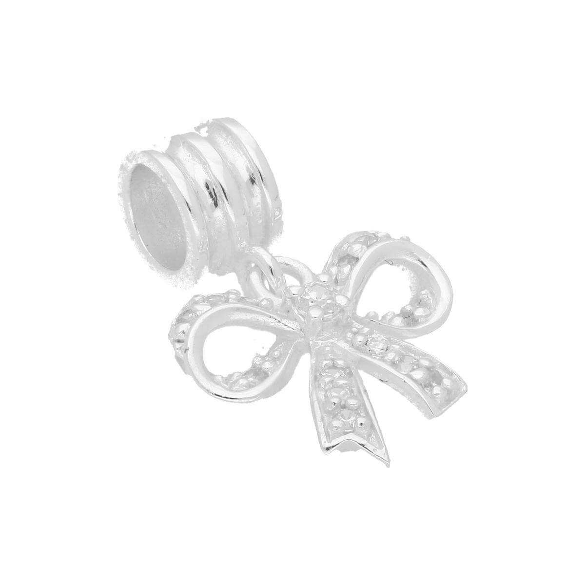 Sterling Silver & Clear CZ Crystal Hanging Ribbon Bow Bead Charm