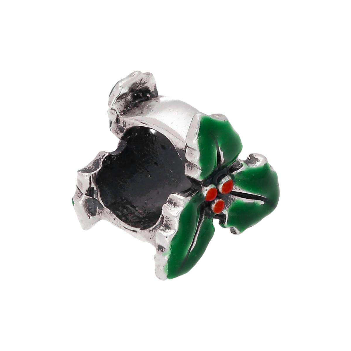 Sterling Silver Enamelled Holly Leaf Bead Charm
