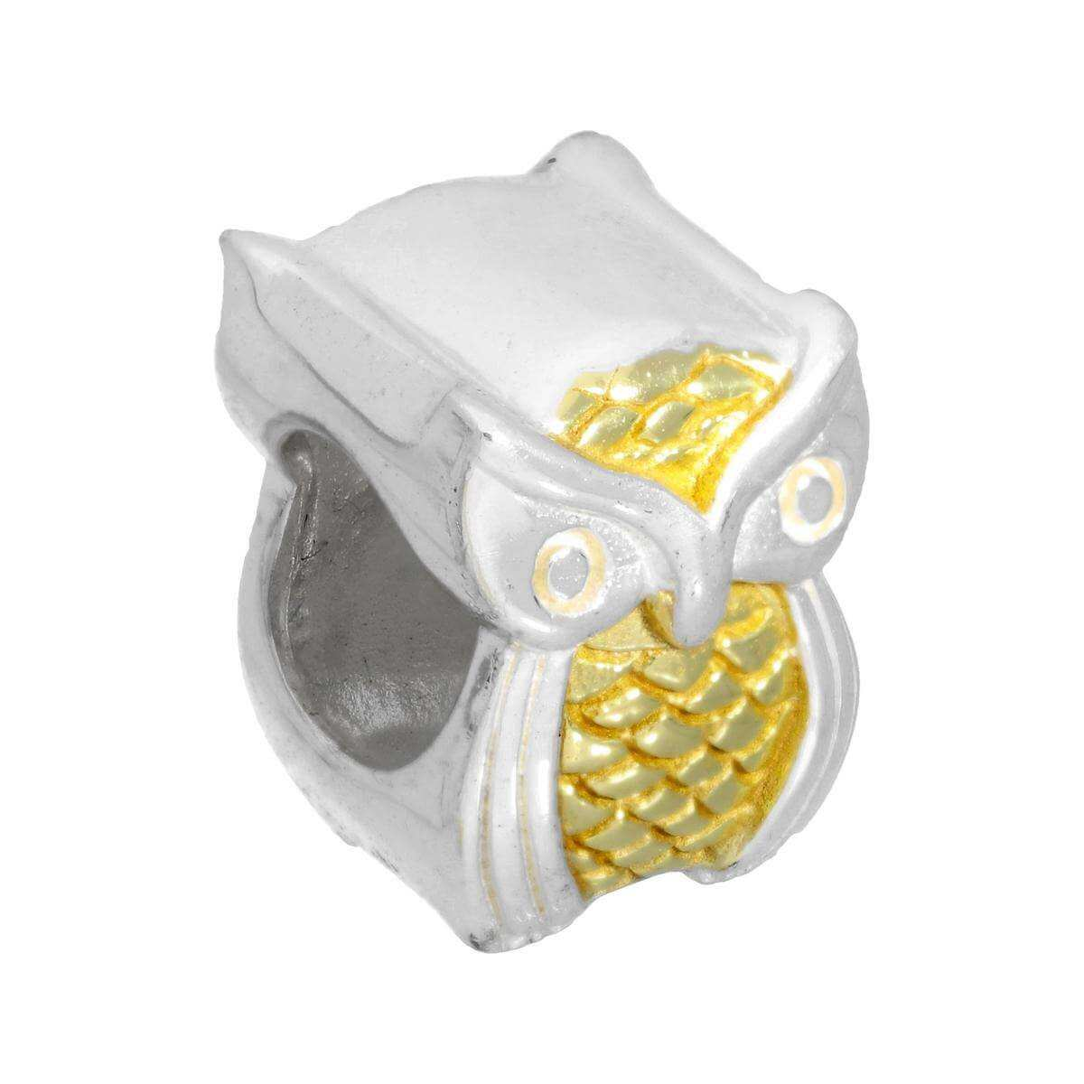 Sterling Silver Two Tone Owl Bead Charm
