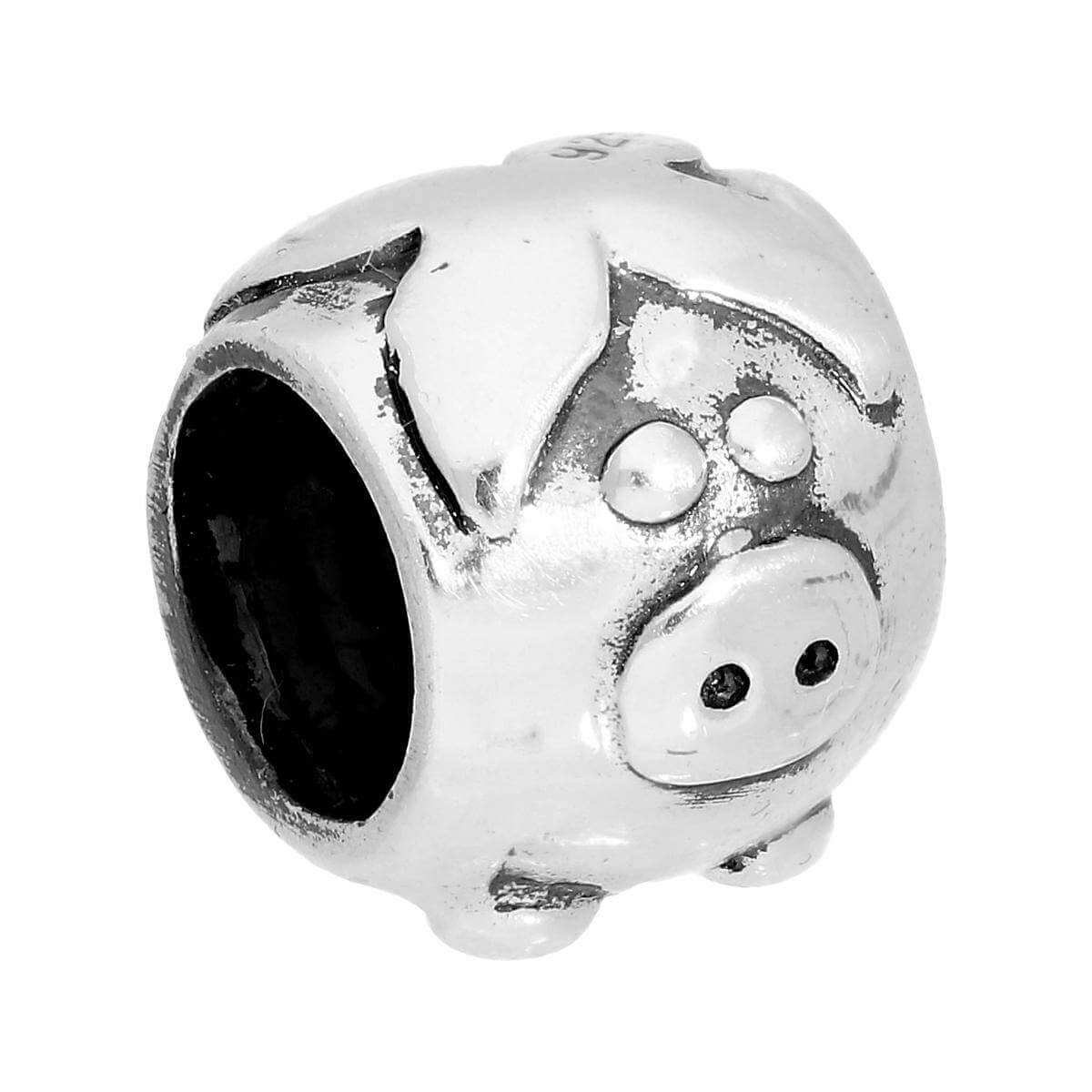 Sterling Silver Round Pig Bead Charm