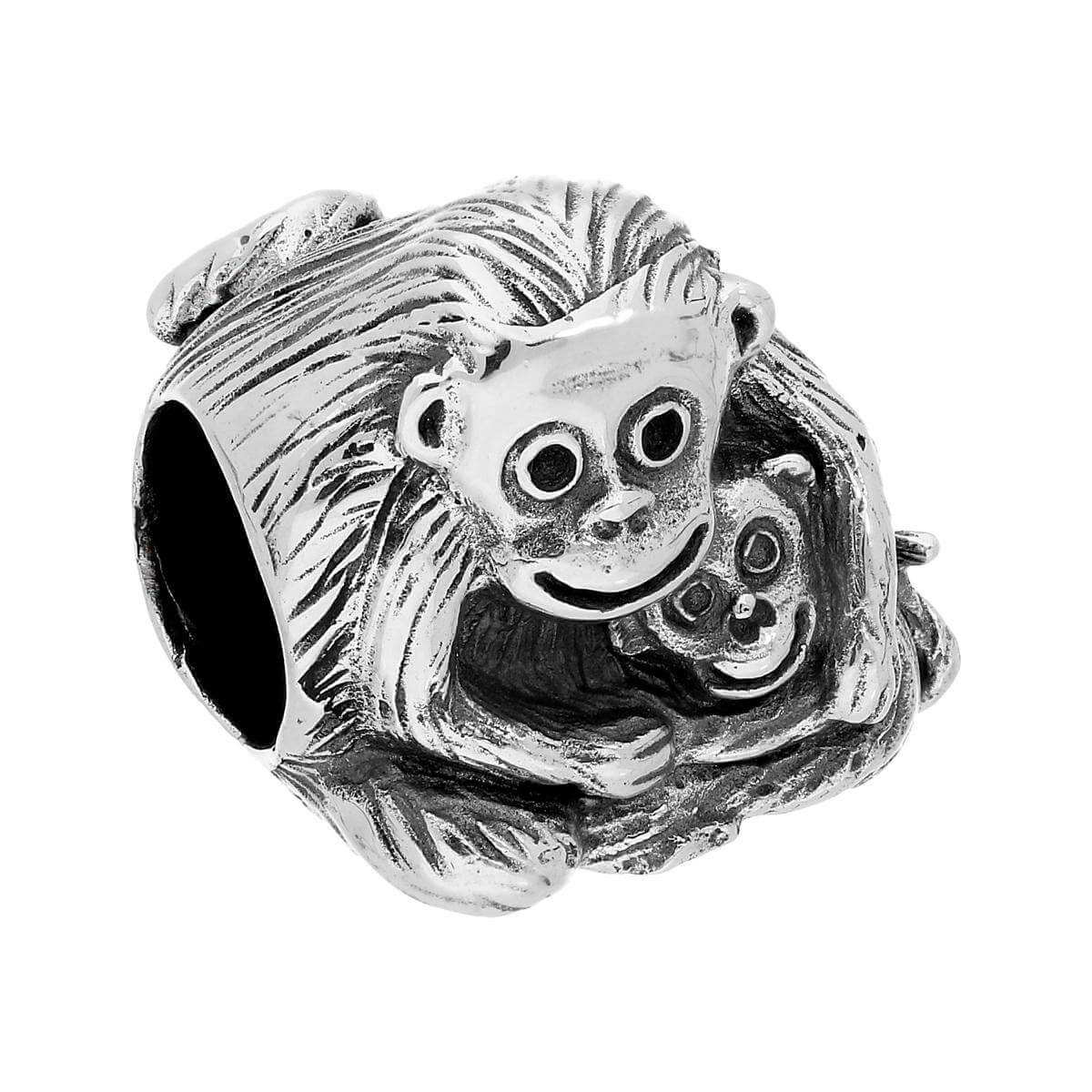 Sterling Silver Cuddling Mother & Baby Monkey Bead Charm