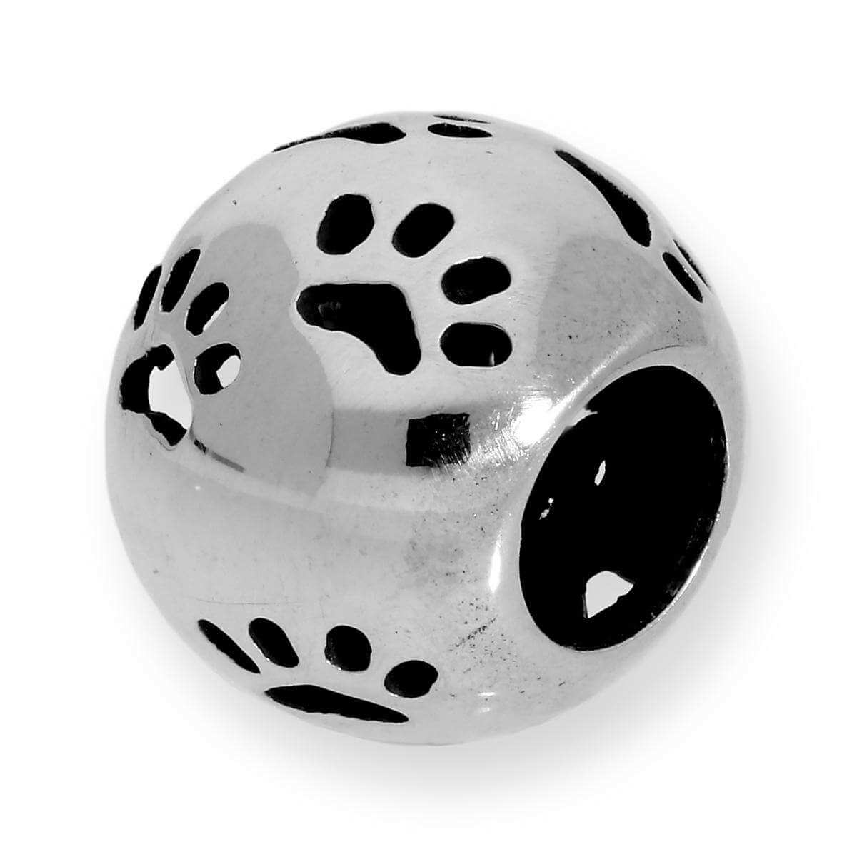 Sterling Silver Dog Pawprints Bead Charm