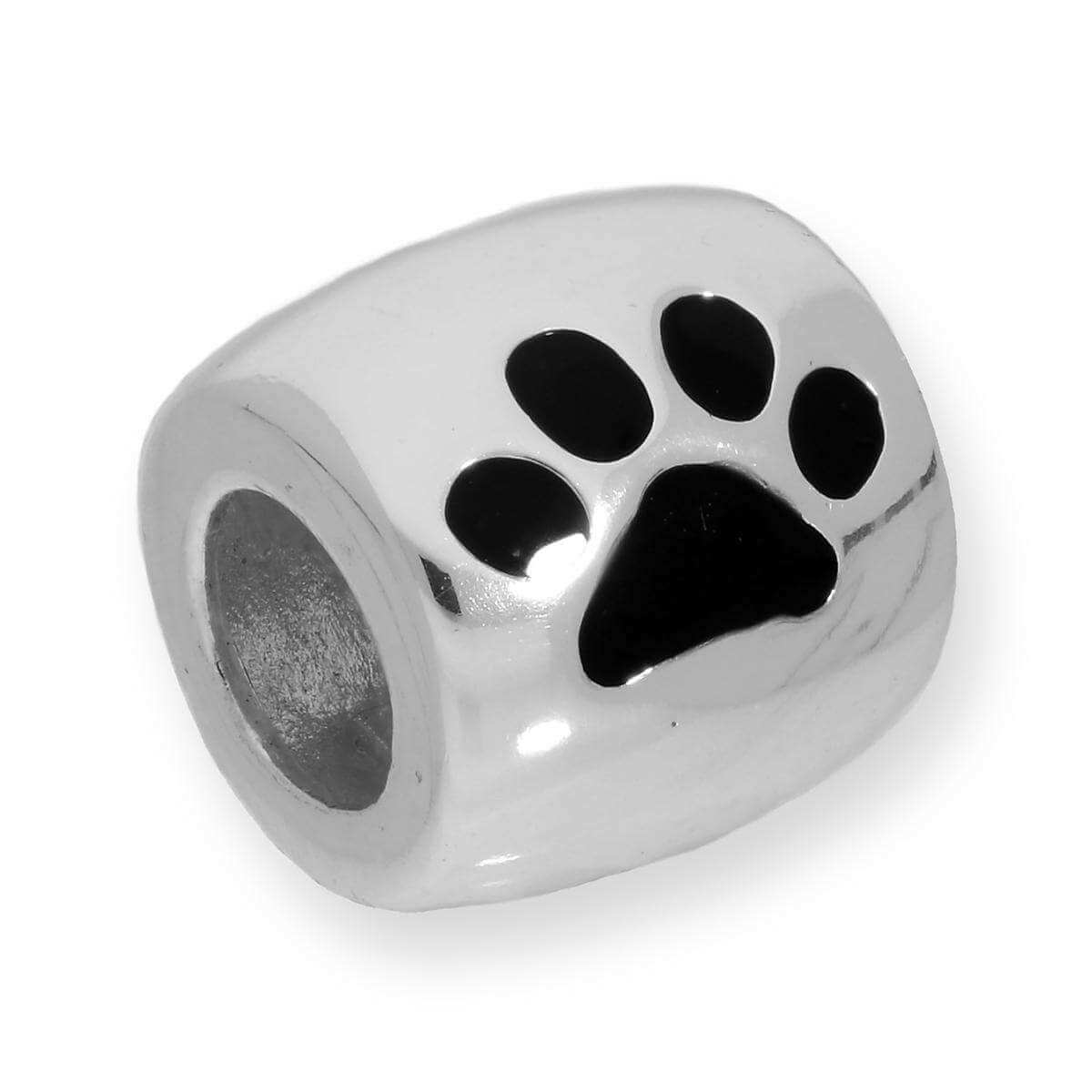Sterling Silver Dog Pawprint Bead Charm