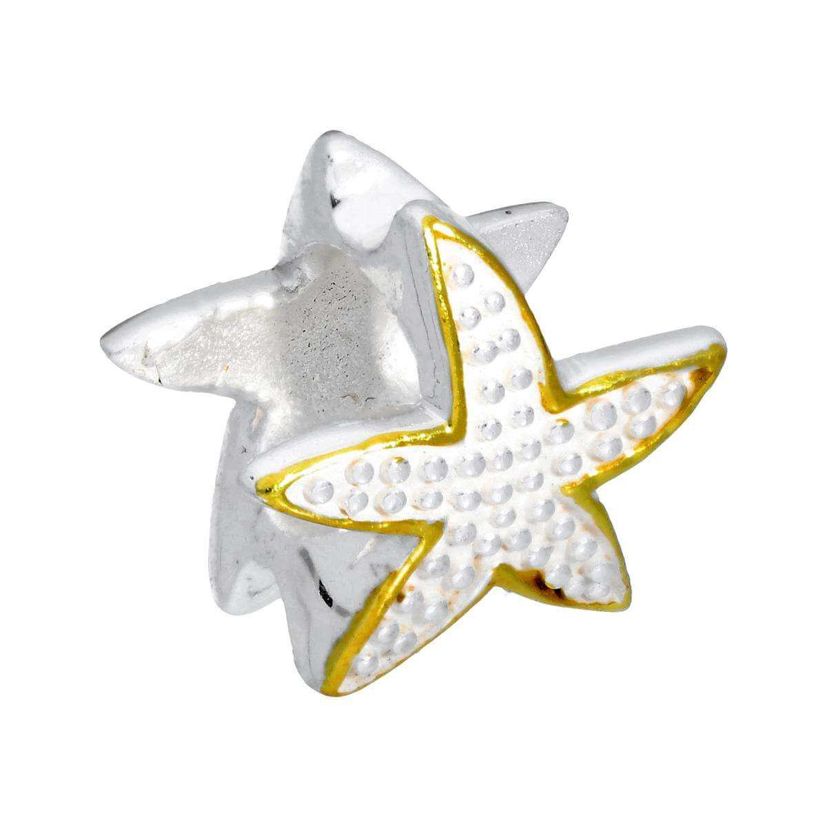 Sterling Silver Two Tone Starfish Bead Charm
