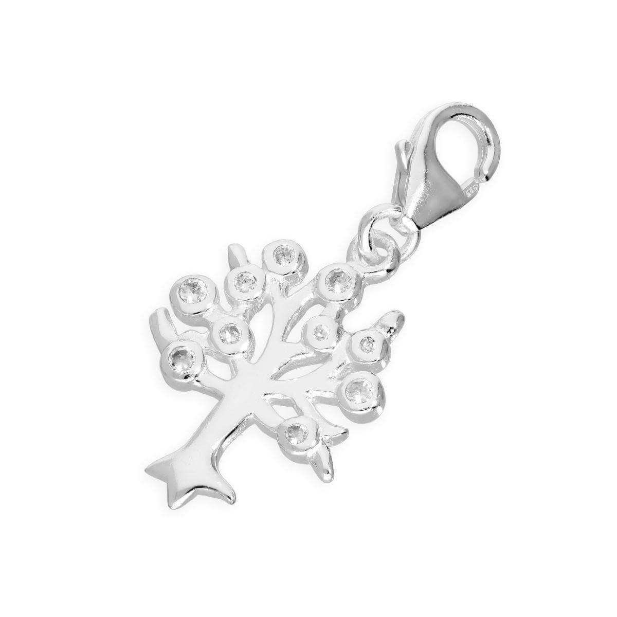 Sterling Silver & Clear CZ Crystal Family Tree Clip on Charm