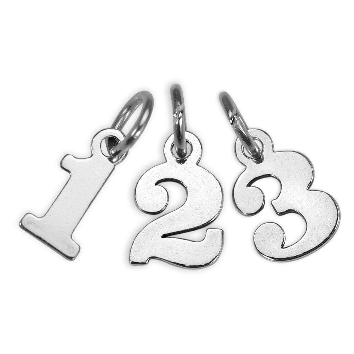 Small Sterling Silver Number Charm 0 - 9