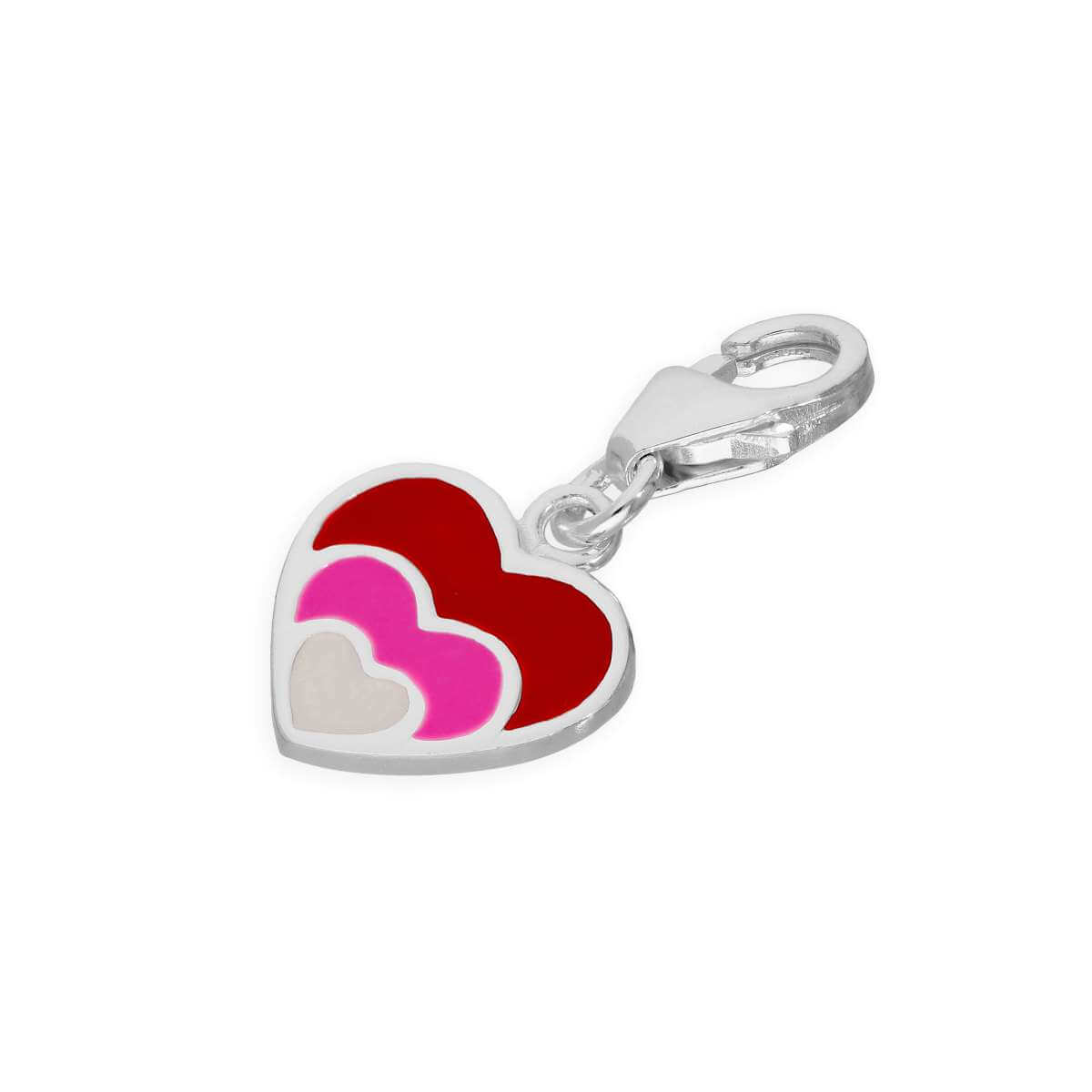 Sterling Silver & Pink Crystal Heart Clip on Charm