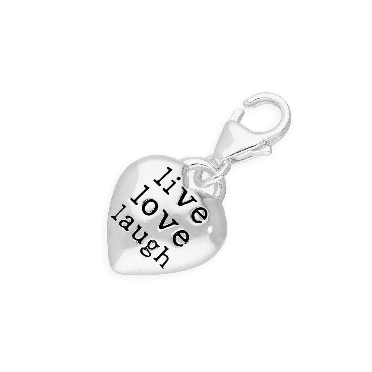 Hollow Silver Live Laugh Love Heart Pebble Clip Charm