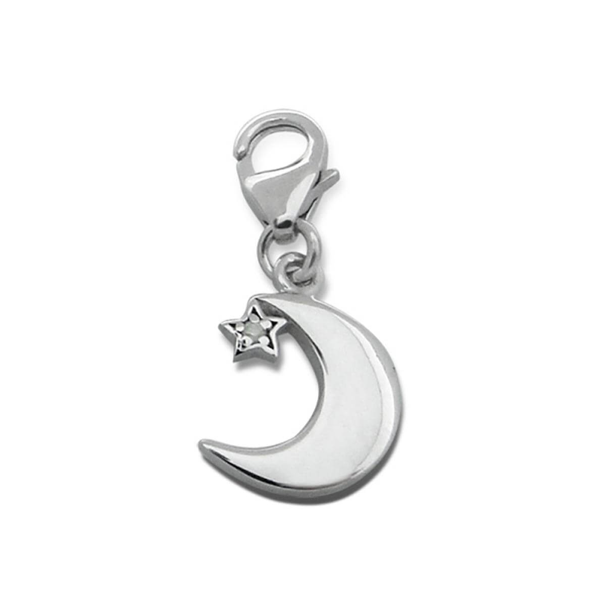 Sterling Silver & Crystal Crescent Moon Clip on Charm