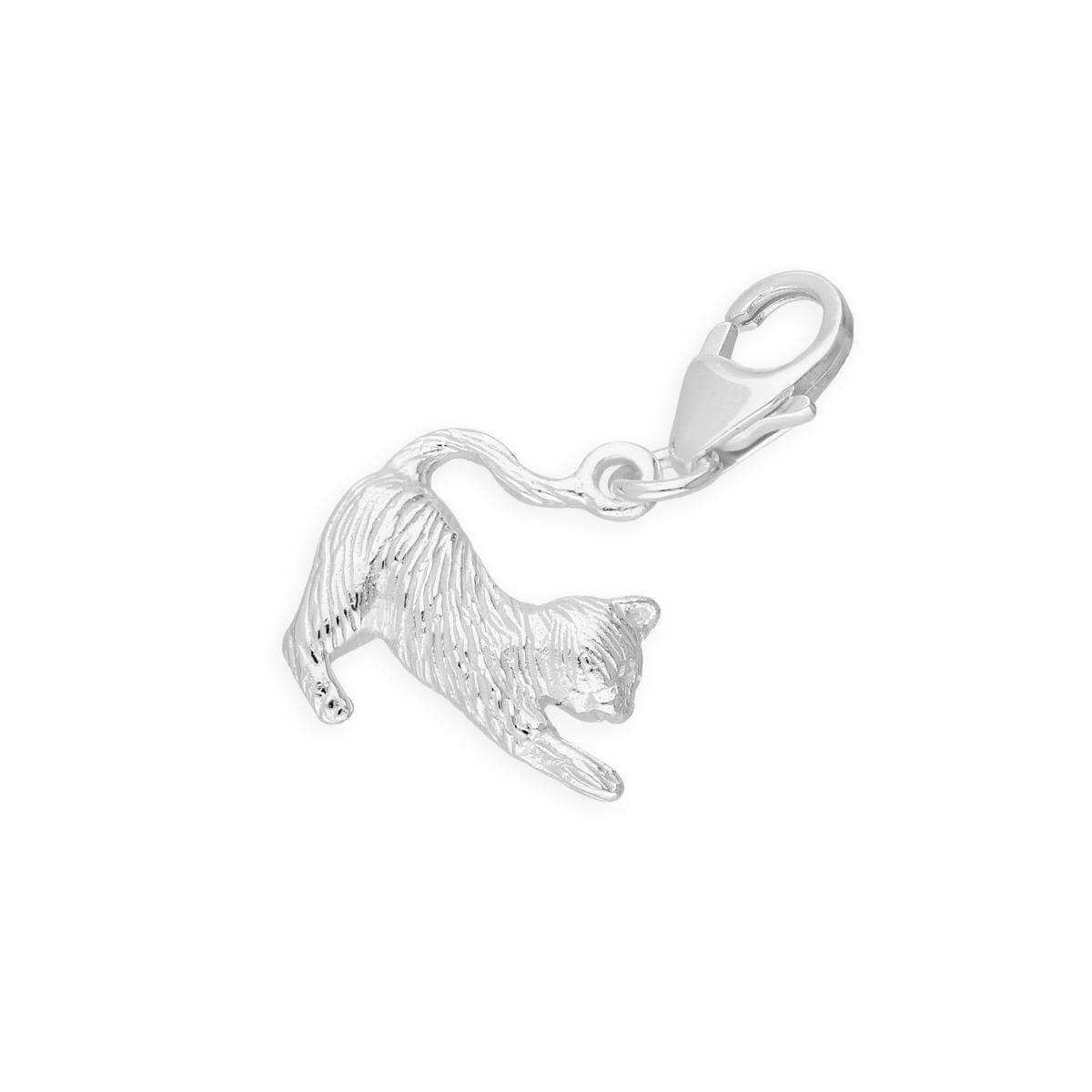 Sterling Silver Stretching Cat Clip on Charm