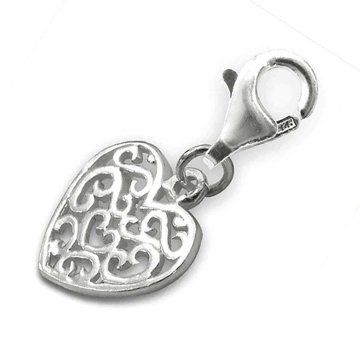 Sterling Silver Intricate Heart Clip on Charm