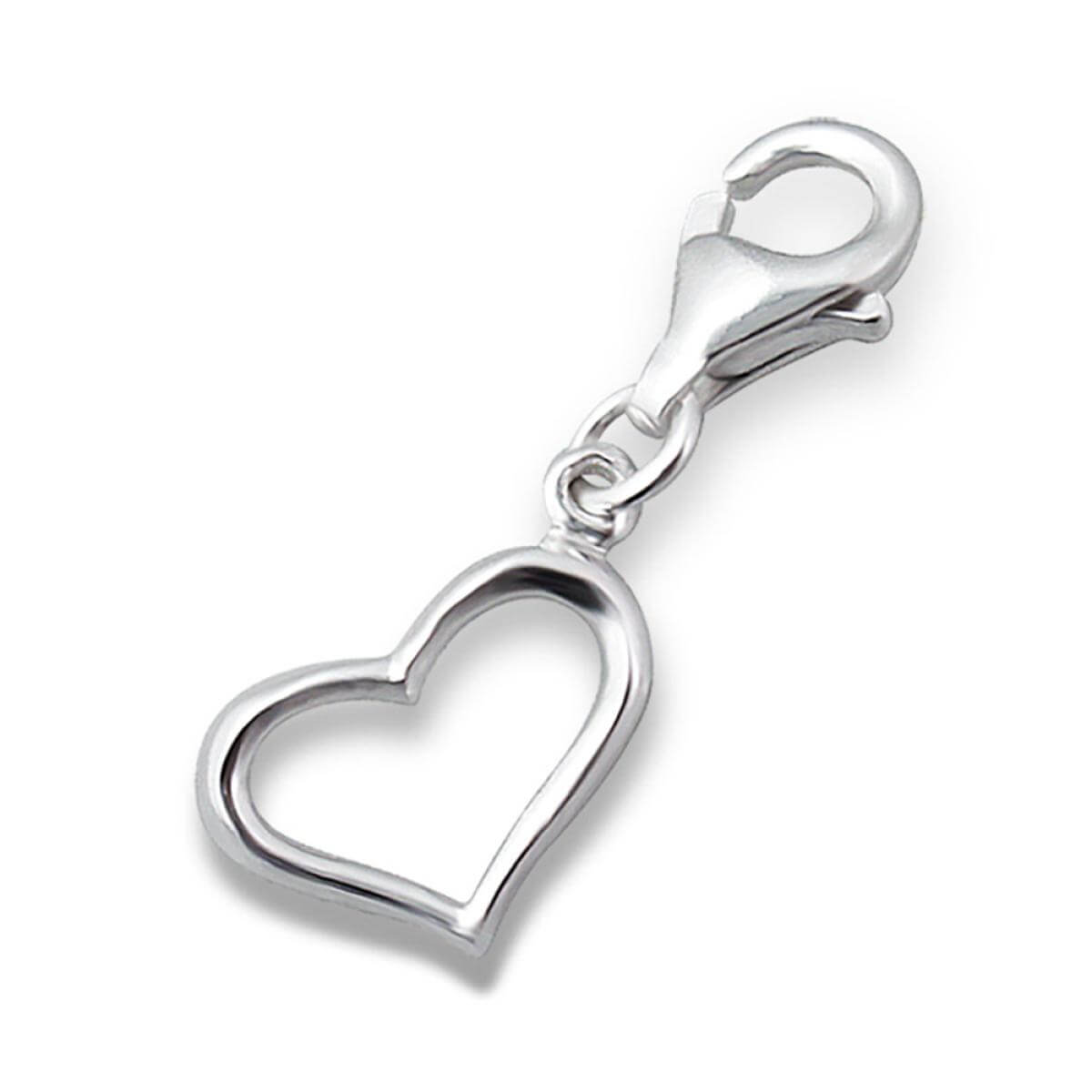 Sterling Silver Open Heart Clip on Charm