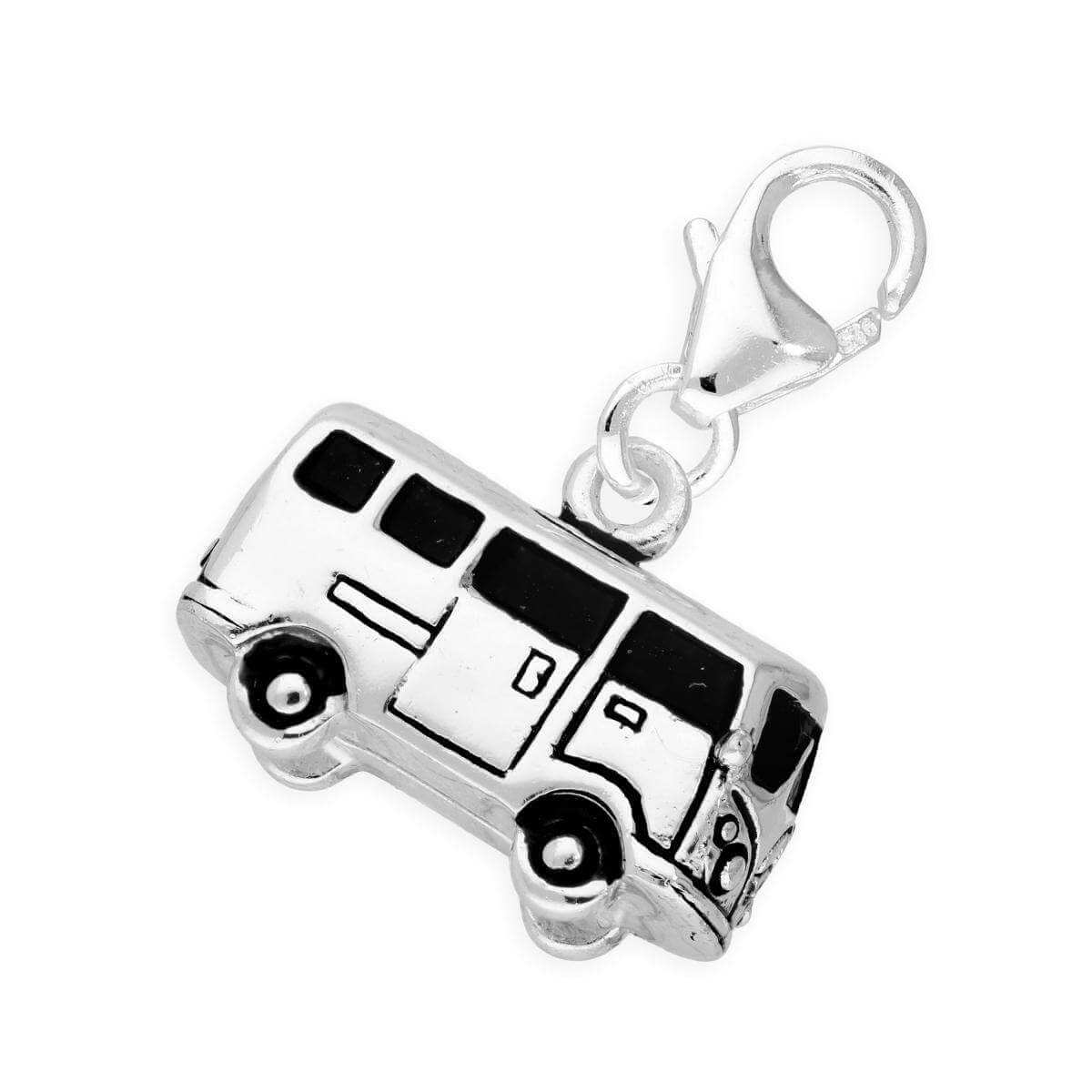 Sterling Silver Retro Campervan Clip on Charm