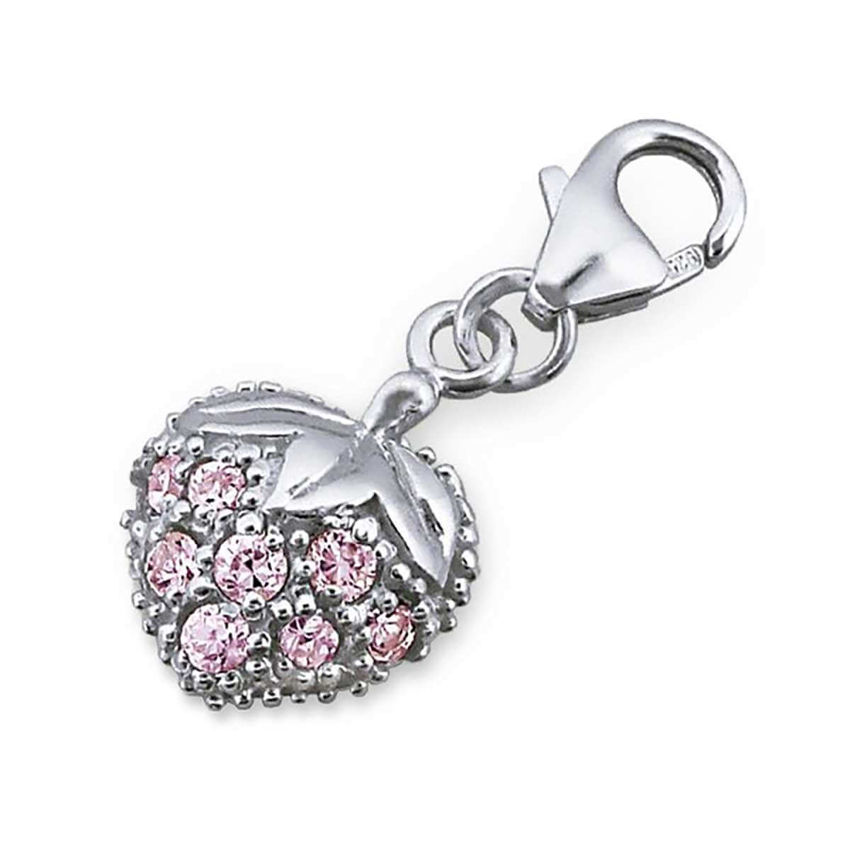Sterling Silver Pink Crystal Strawberry Clip on Charm