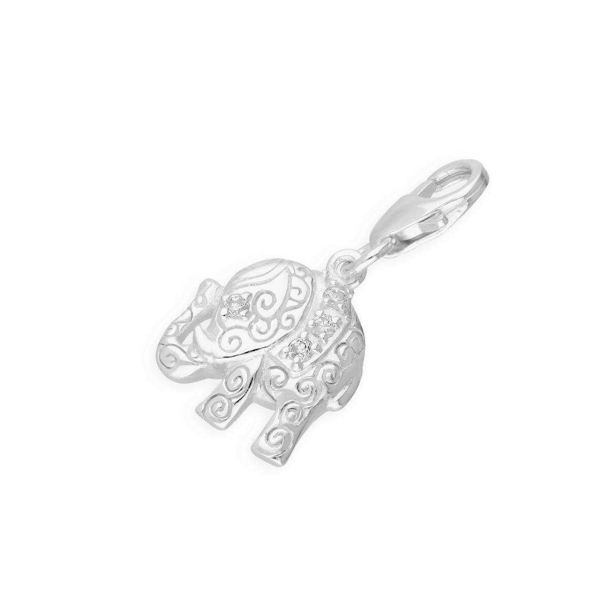 Sterling Silver Crystal Elephant Clip on Charm