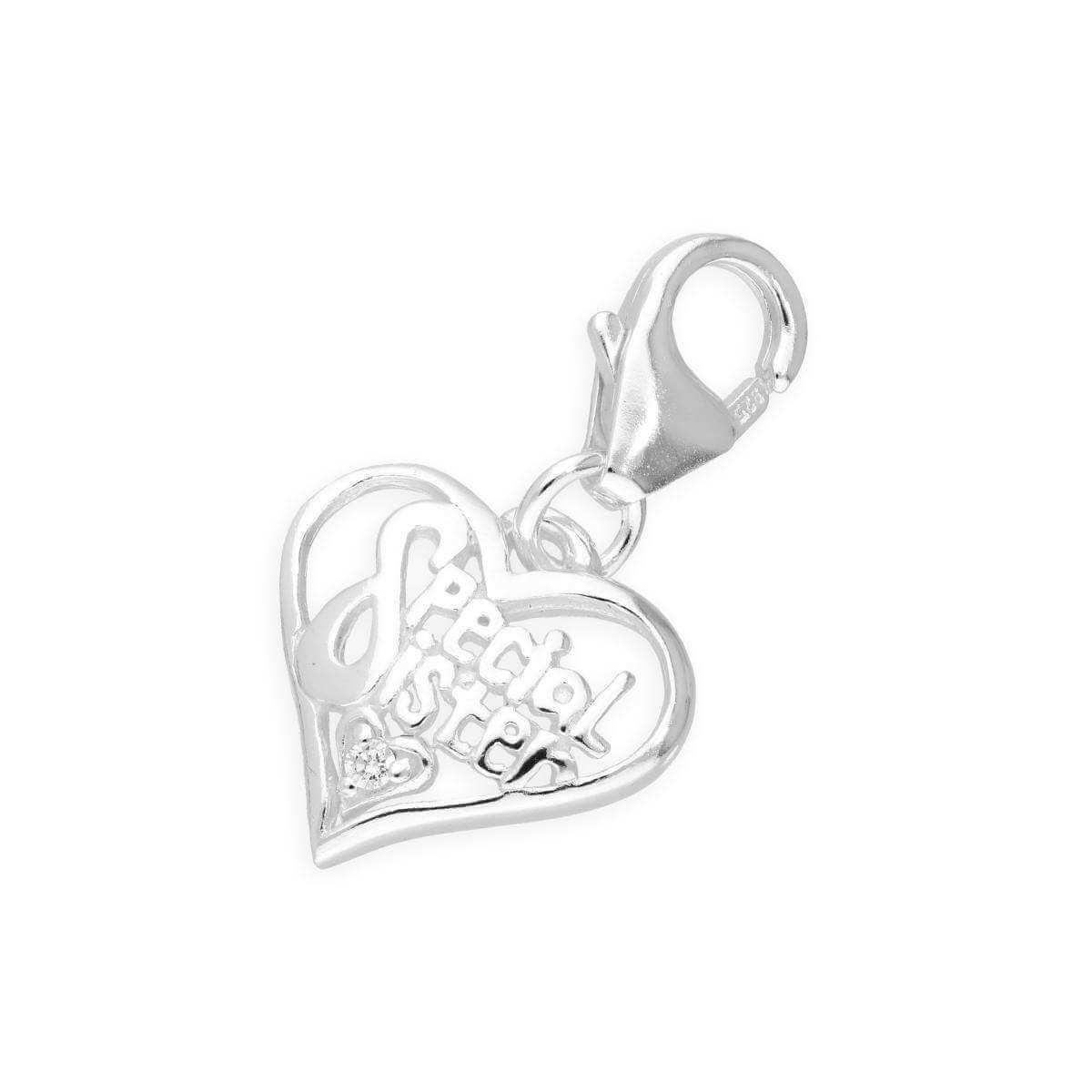 b8830f33a Sterling Silver and Crystal Special Sister Heart Clip on Charm |  TheCharmWorks.com