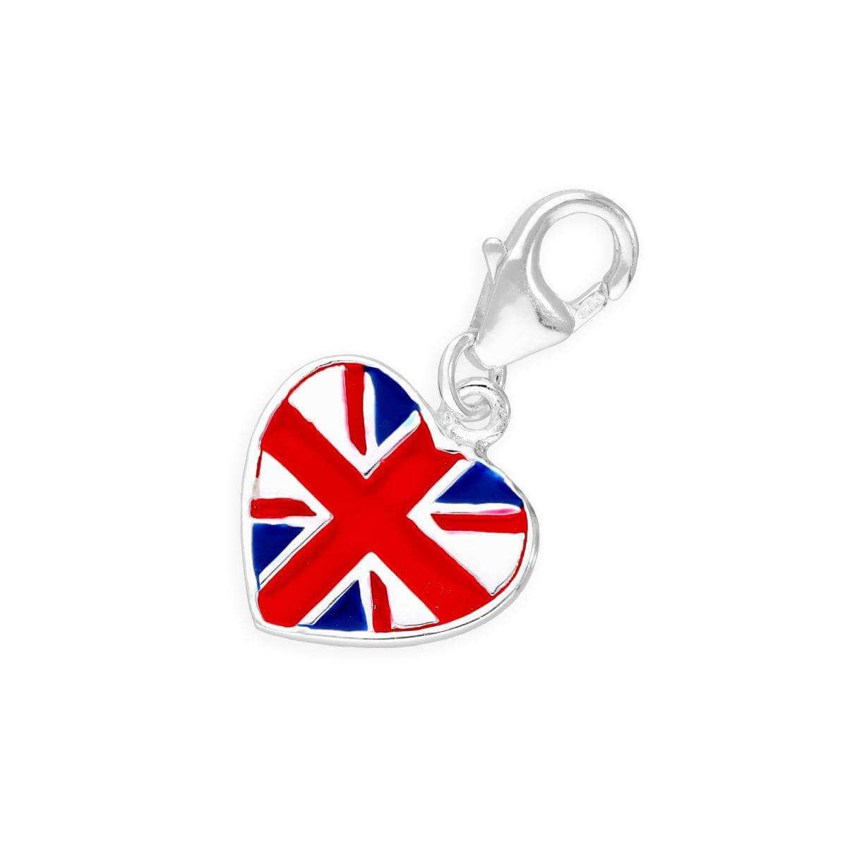 Sterling Silver UK London Heart Clip on Charm