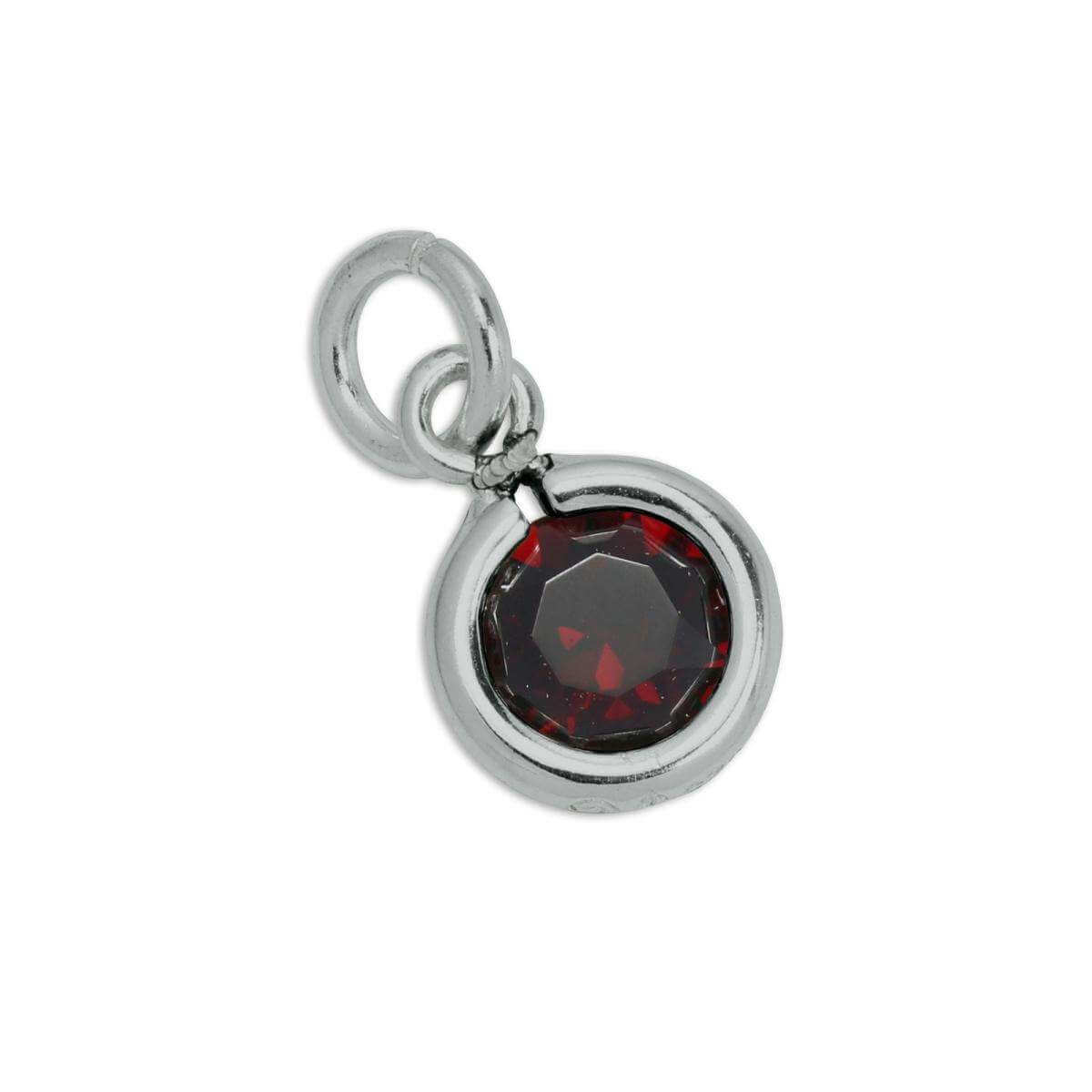 Sterling Silver & Garnet 5mm Round CZ Crystal January Birthstone Charm