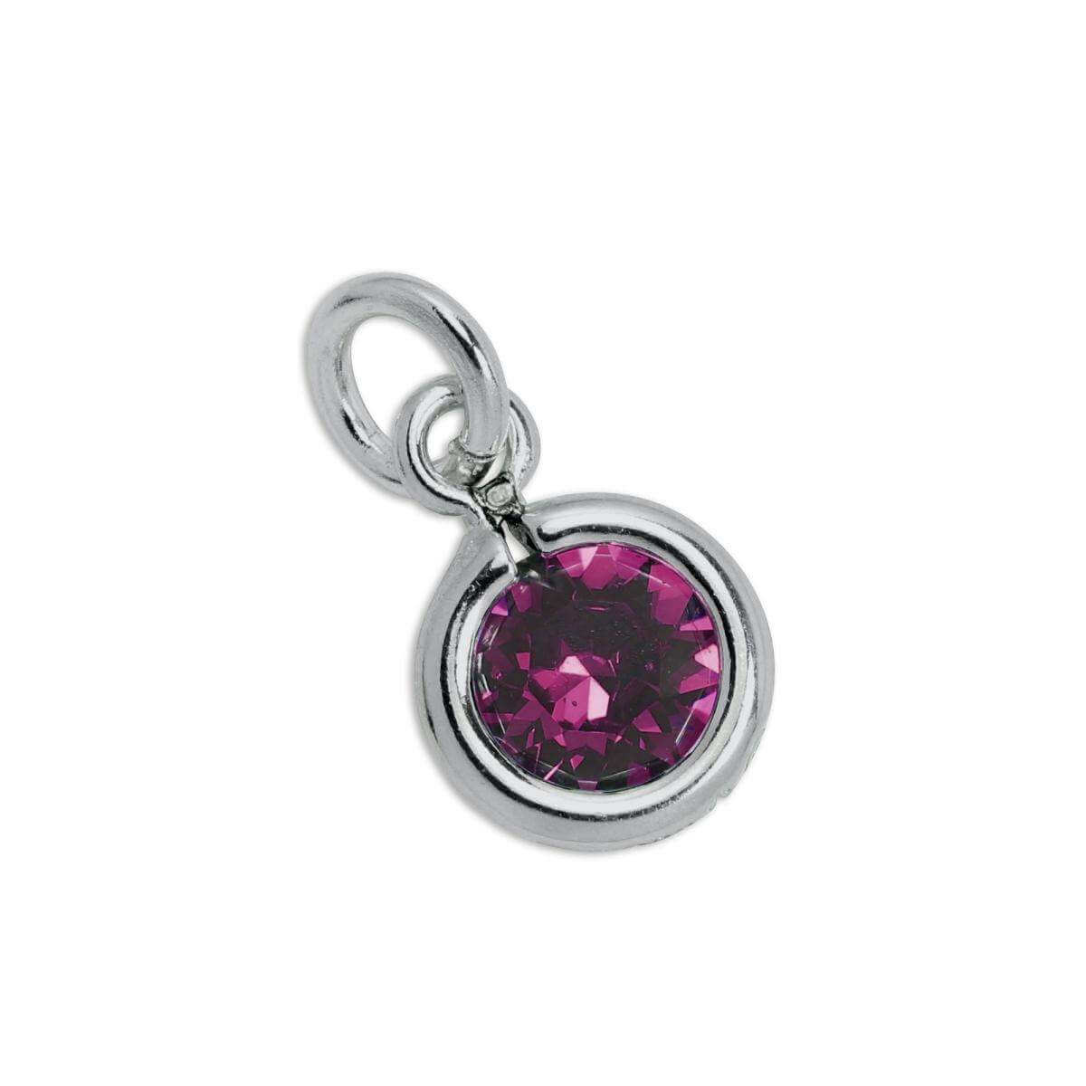 Sterling Silver & Amethyst 5mm Round CZ Crystal February Birthstone Charm