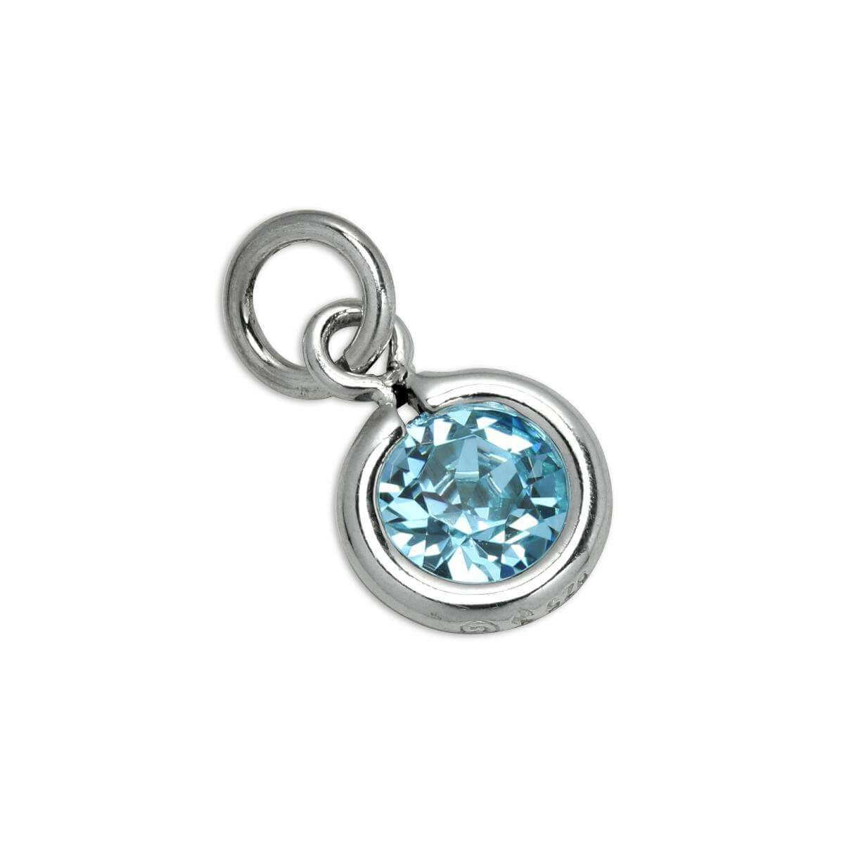 Sterling Silver & Aquamarine 5mm Round CZ Crystal March Birthstone Charm