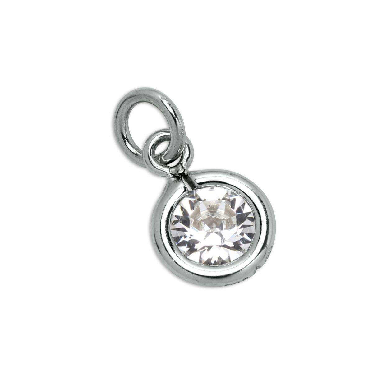Sterling Silver & Clear 5mm Round CZ Crystal April Birthstone Charm
