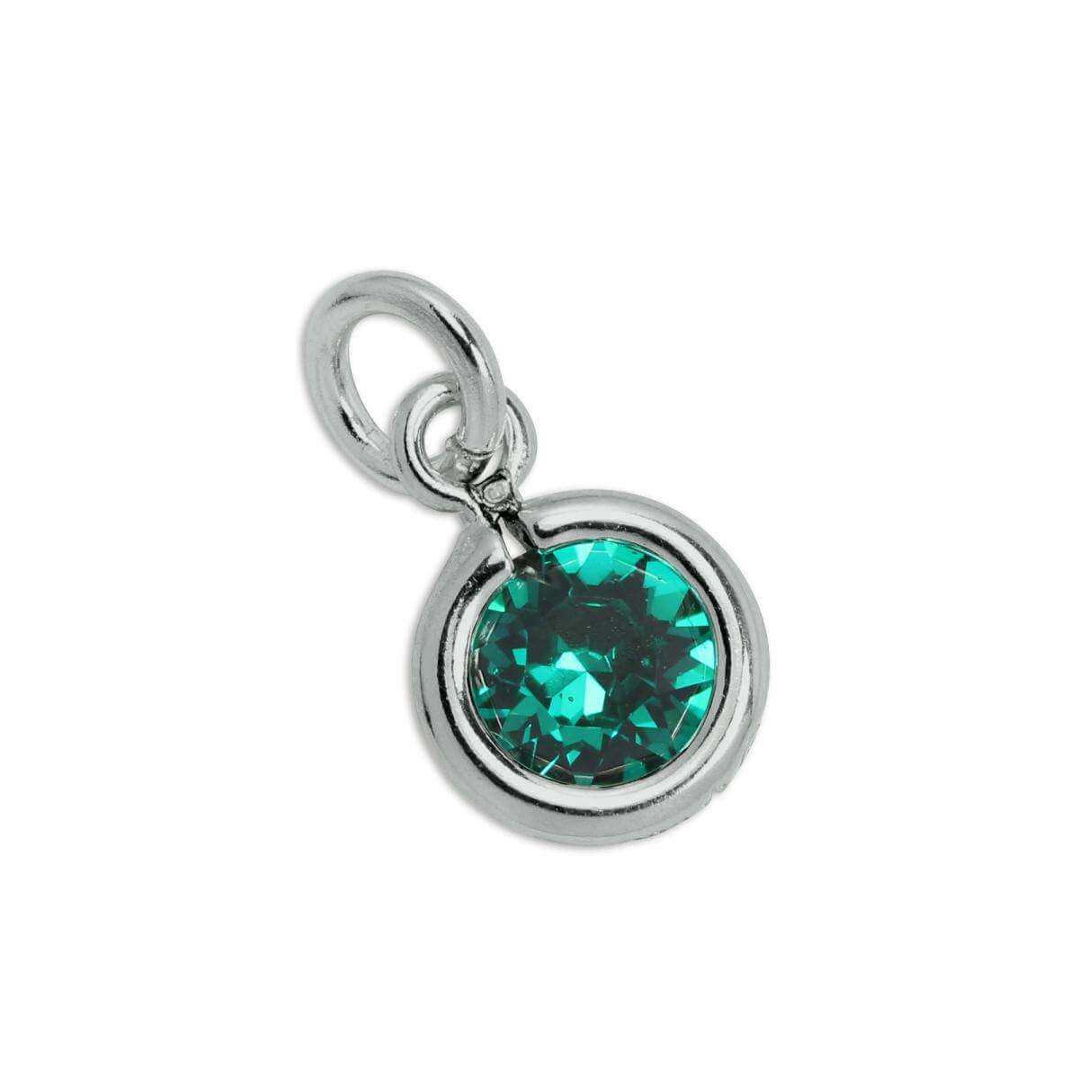 Sterling Silver & Emerald 5mm Round CZ Crystal May Birthstone Charm
