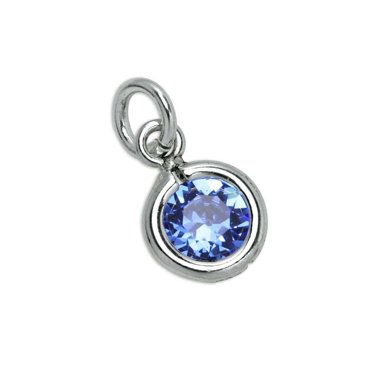 Sterling Silver & Sapphire 5mm Round CZ Crystal September Birthstone Charm