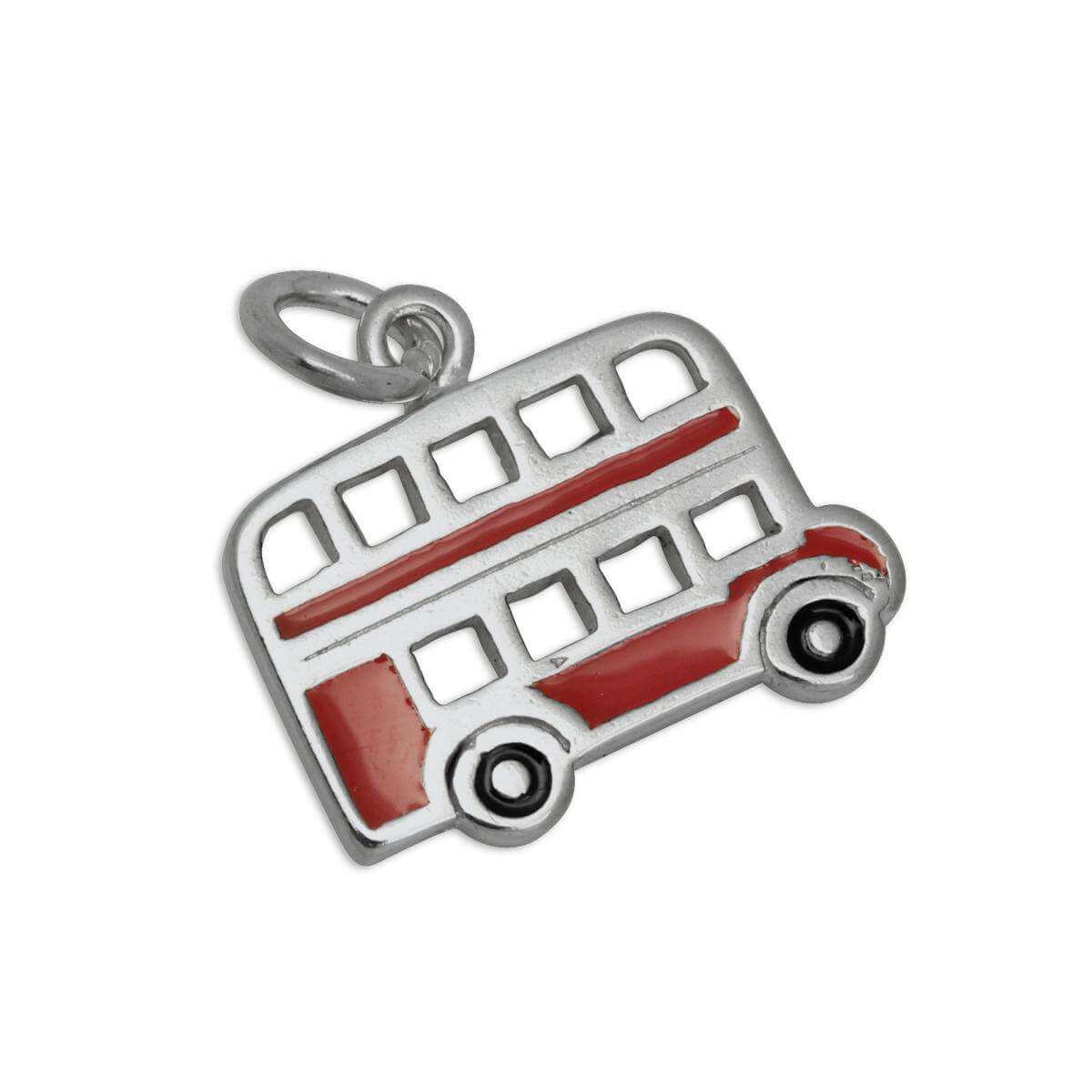Sterling Silver & Enamel Flat London Routemaster Bus Charm